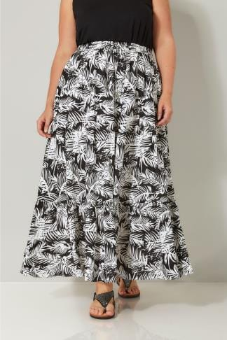 Black & White Leaf Print Tiered Maxi Skirt, plus size 16 to