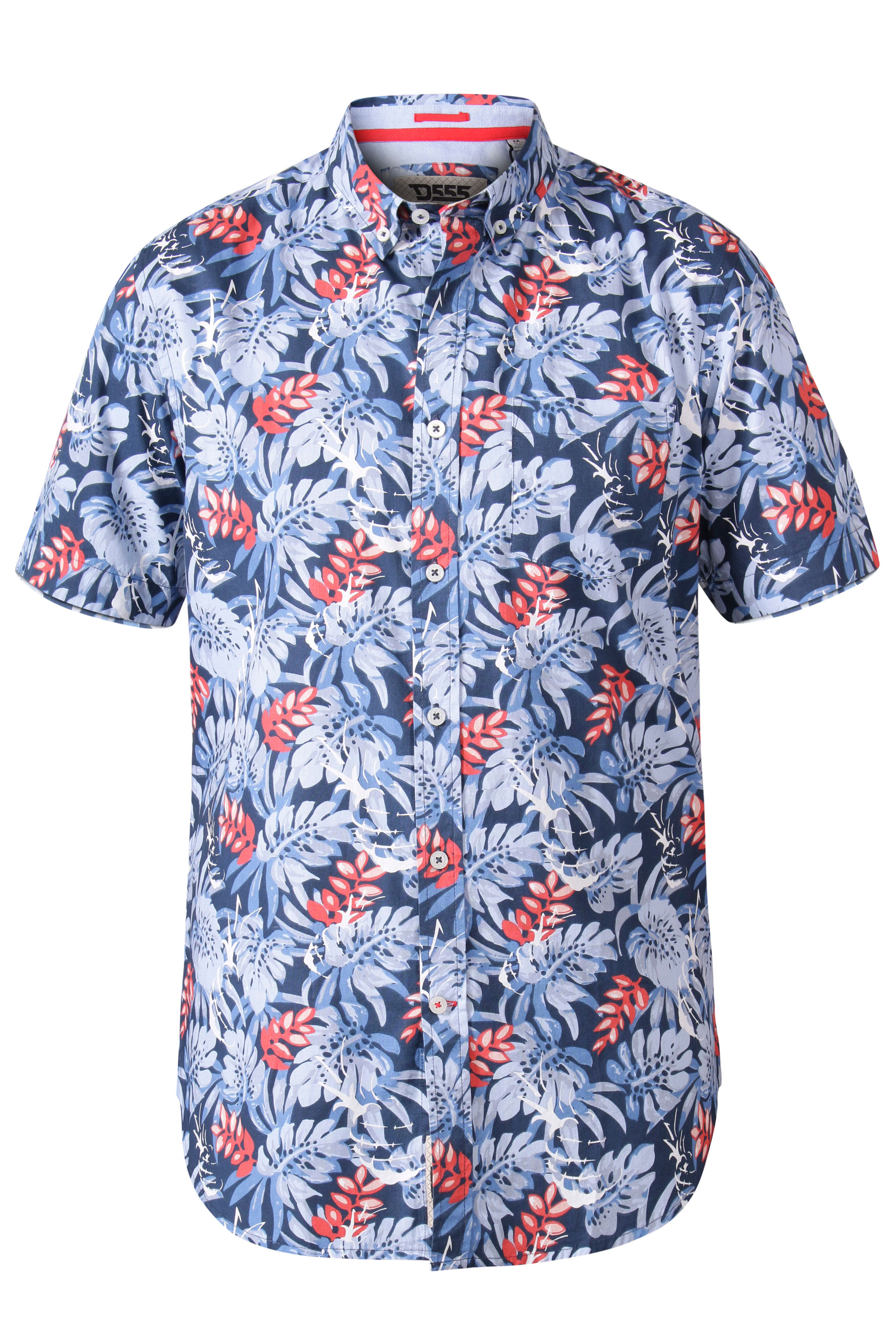 D555 Blue Hawaiian Print Shirt