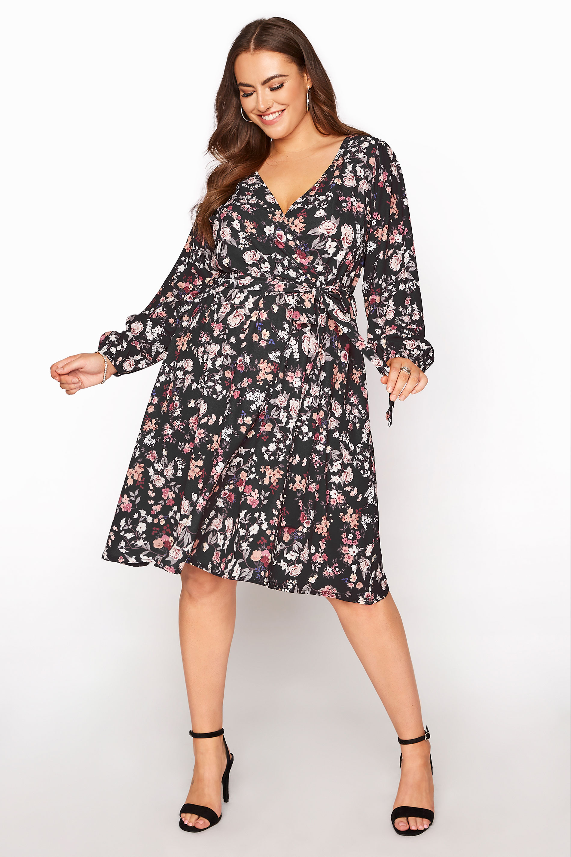 YOURS LONDON Black Floral Wrap Midi Dress_A.jpg