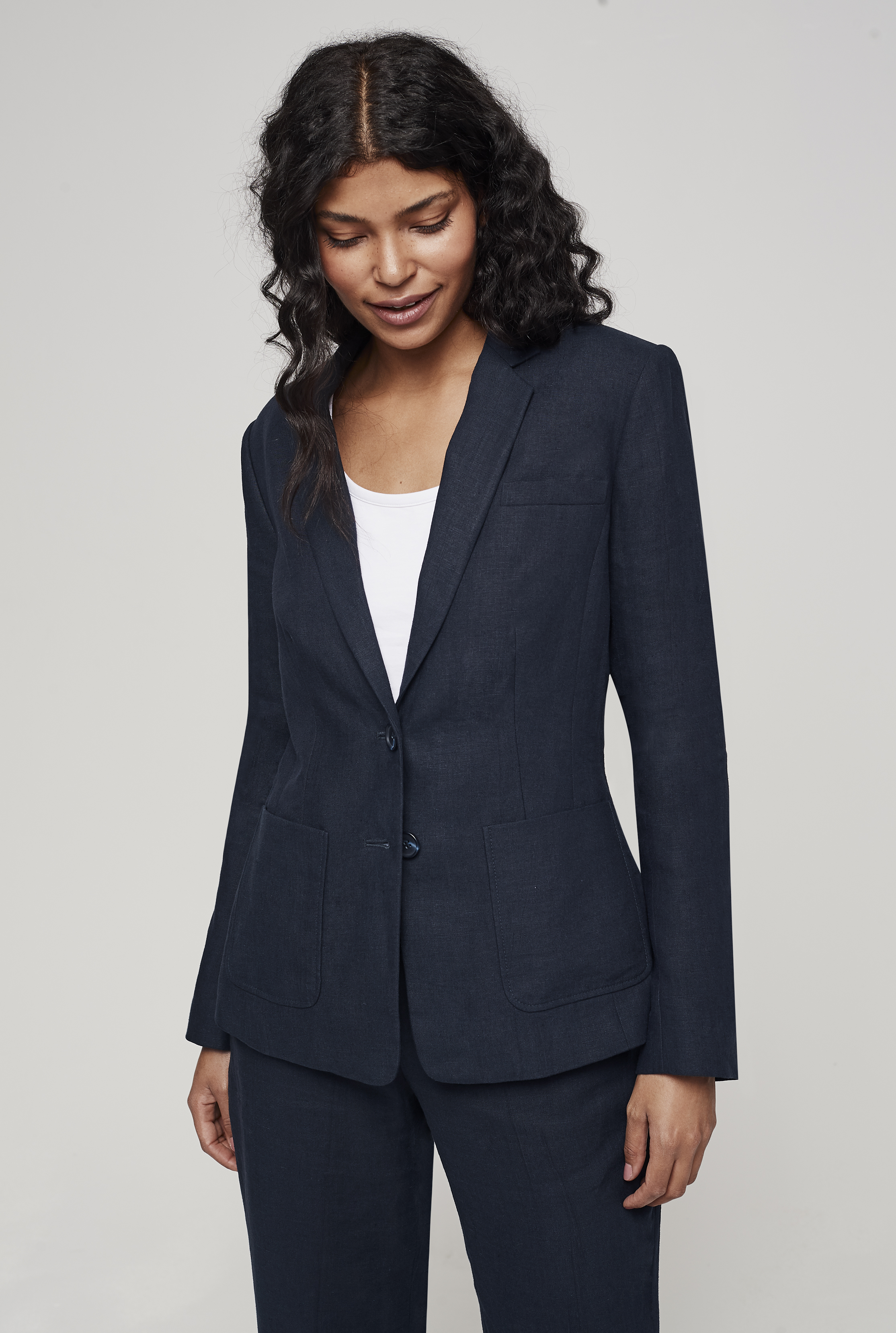 Navy Linen Suit Jacket