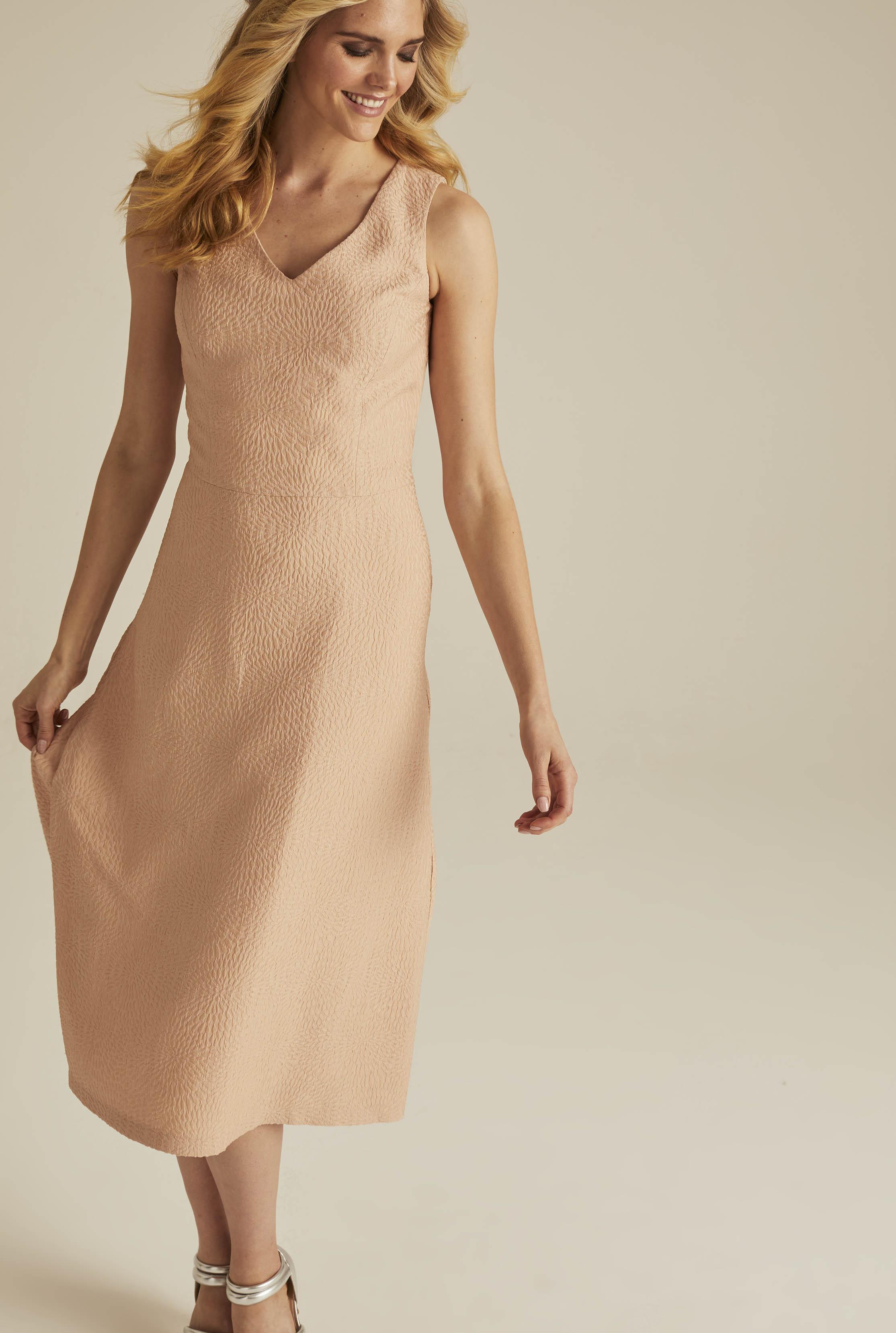 Peach Occasion Jacquard Suit Dress