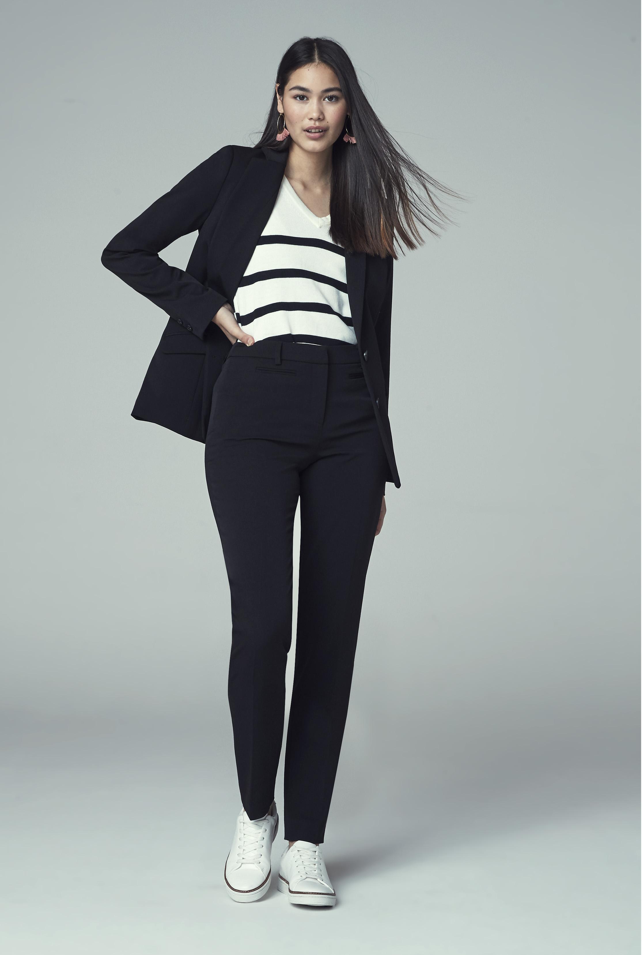 Black Mix and Match Longline Suit Jacket
