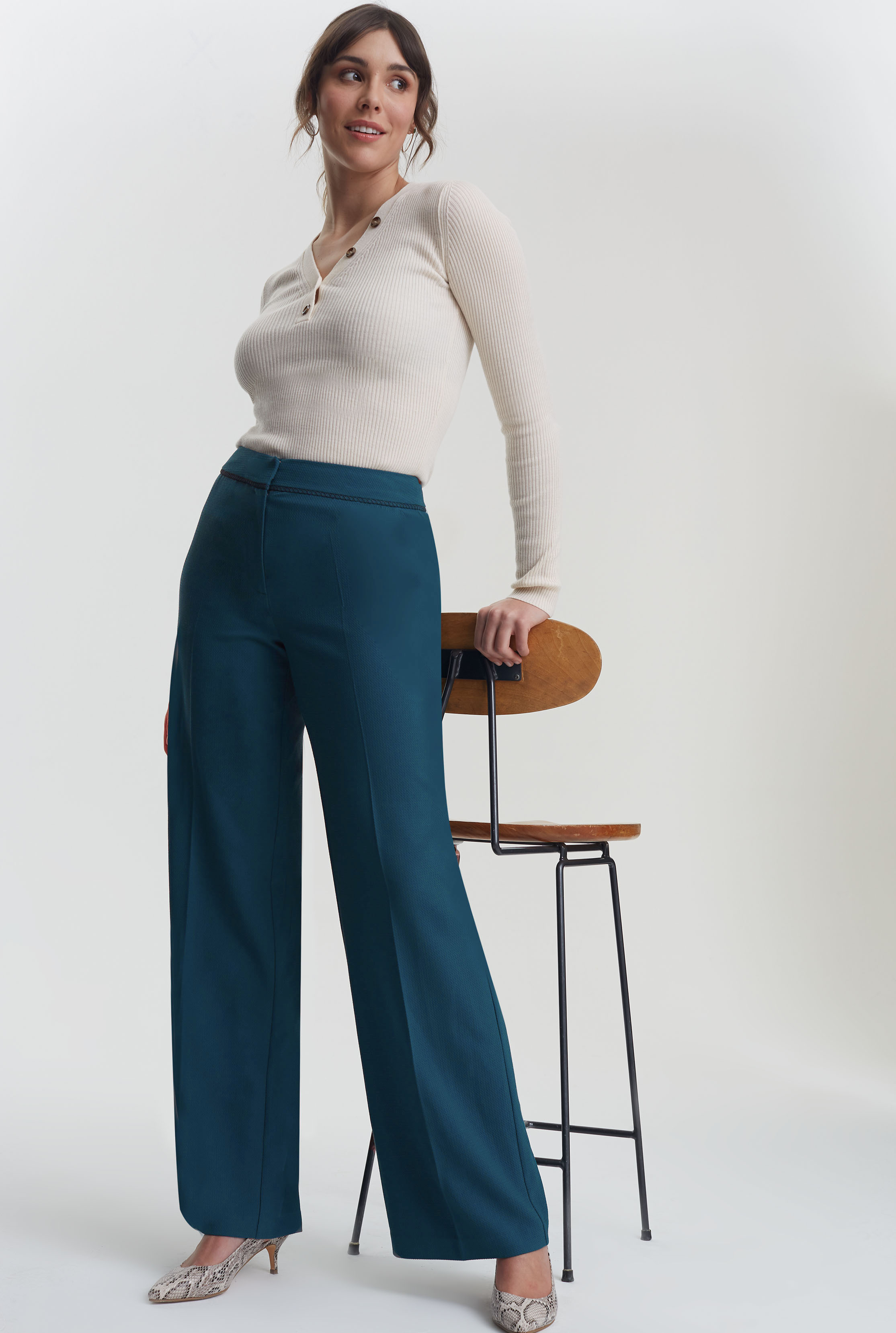 Teal Trim Textured Wide Leg Suit Trouser