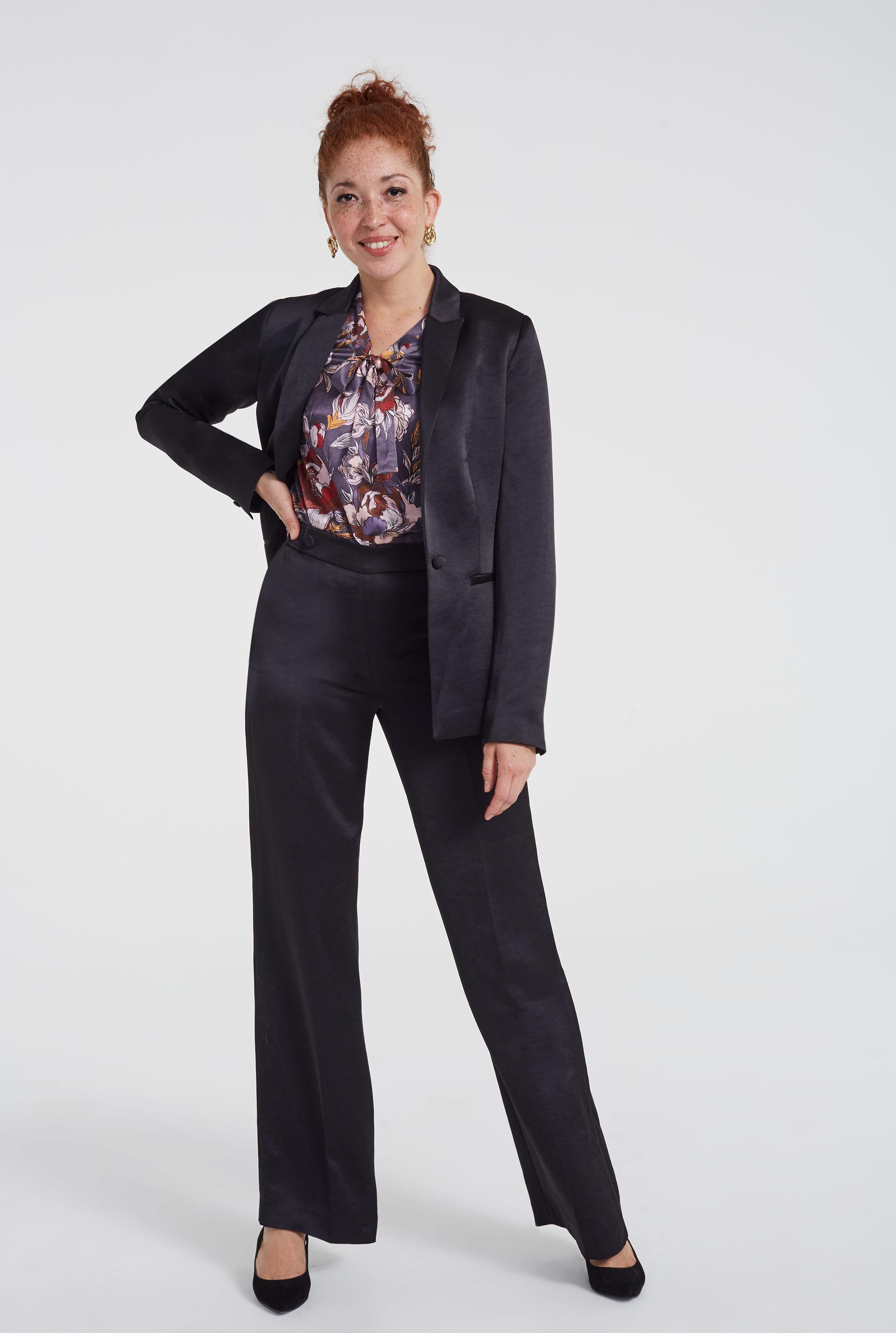 Black Satin Suit Wide Leg Trousers