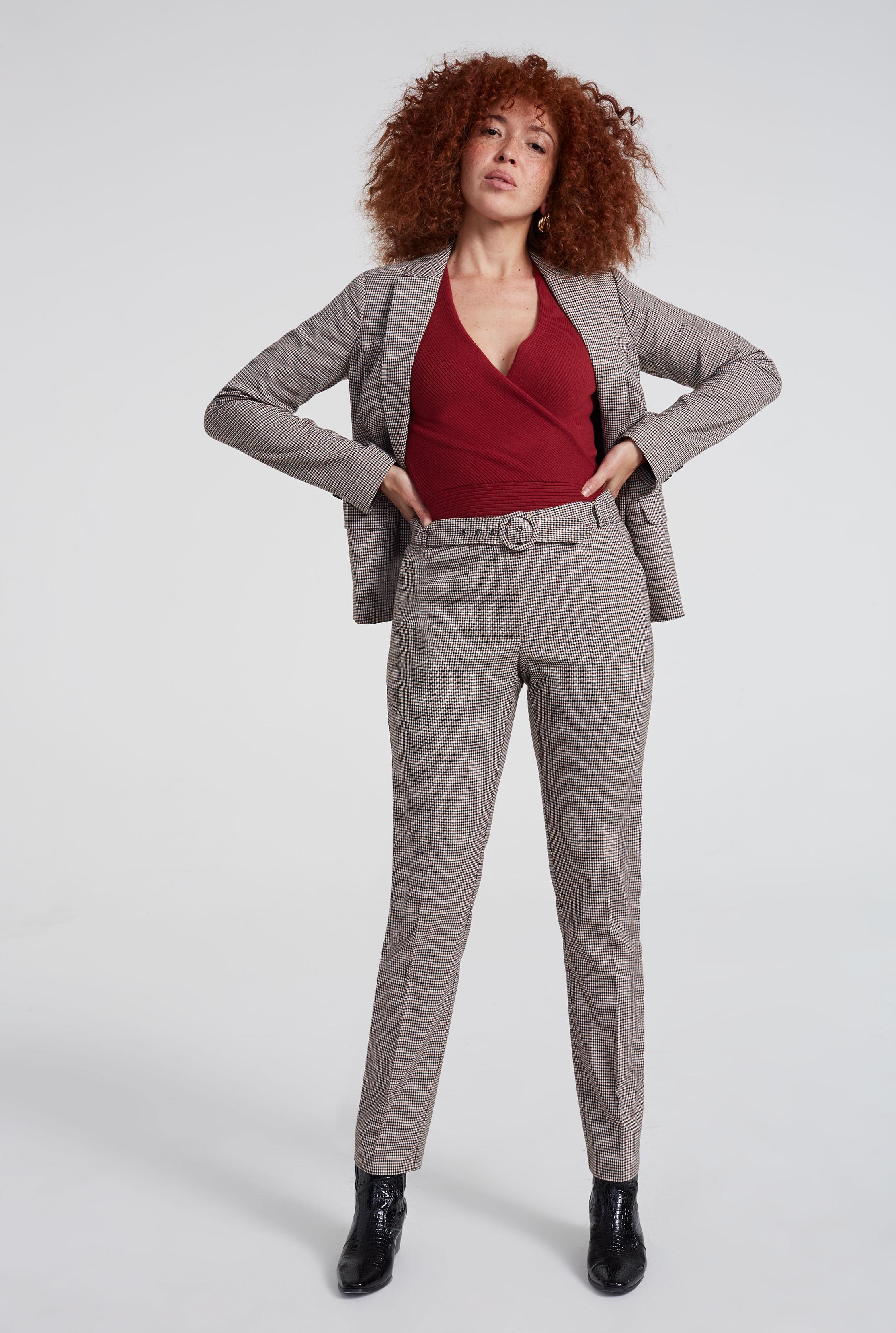 Beige Mini Check Slim Suit Trouser