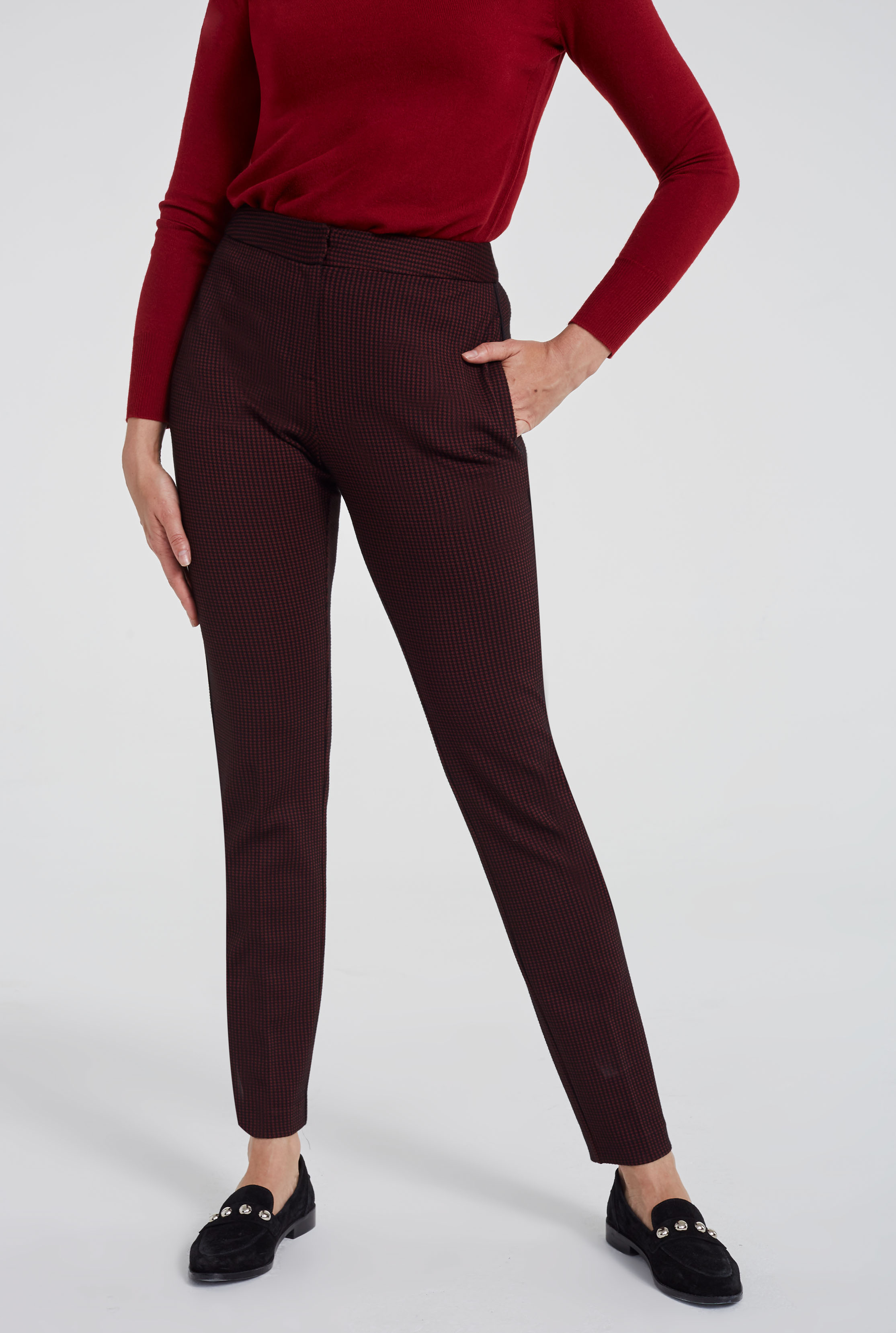Red Check Ponte Stretch Slim Leg Suit Trousers