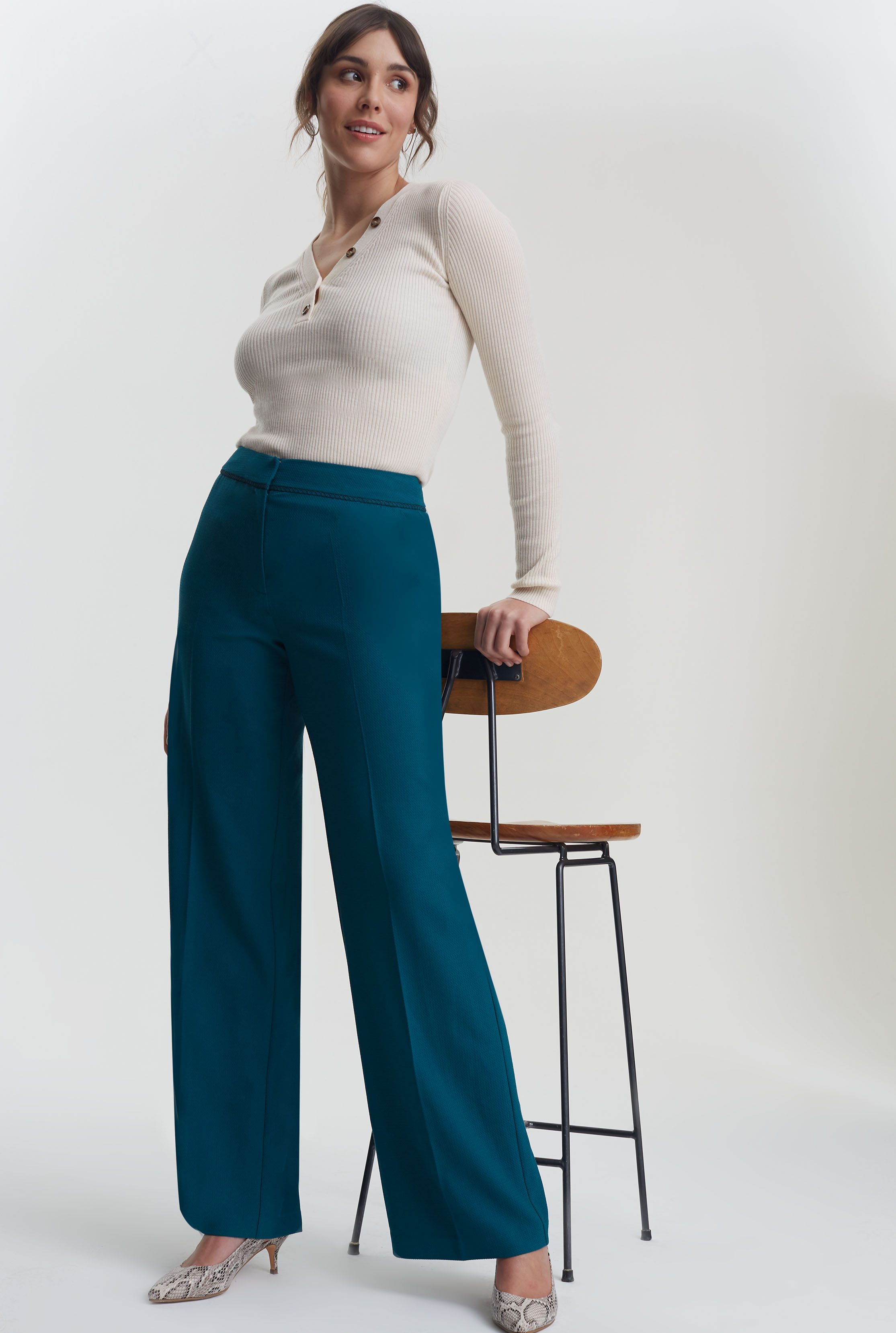 Teal Trim Textured Wide Leg Suit Pant
