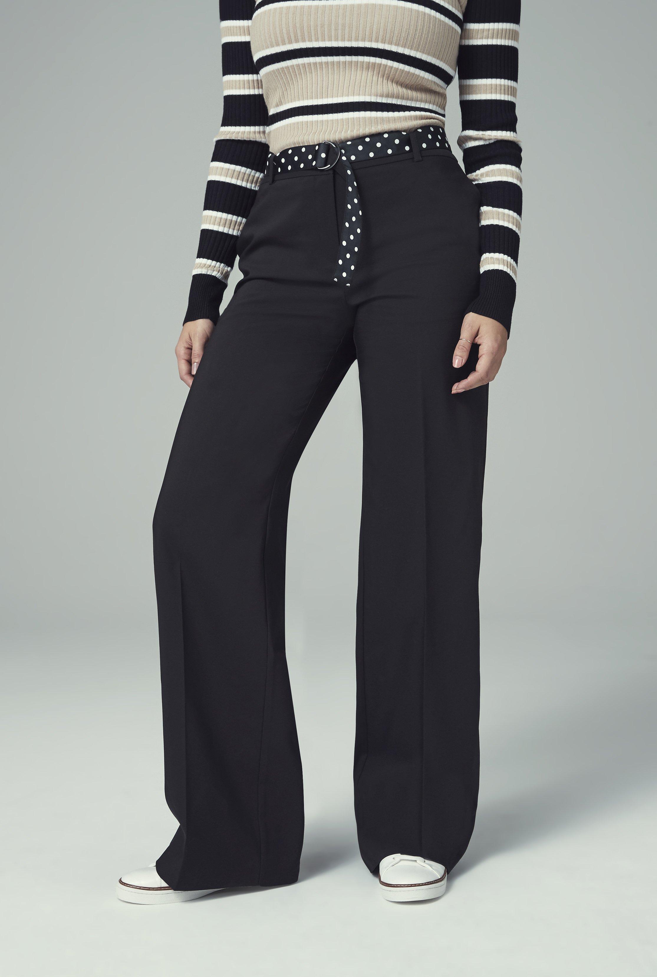 Black Cotton Rich Wide Leg Suit Trouser