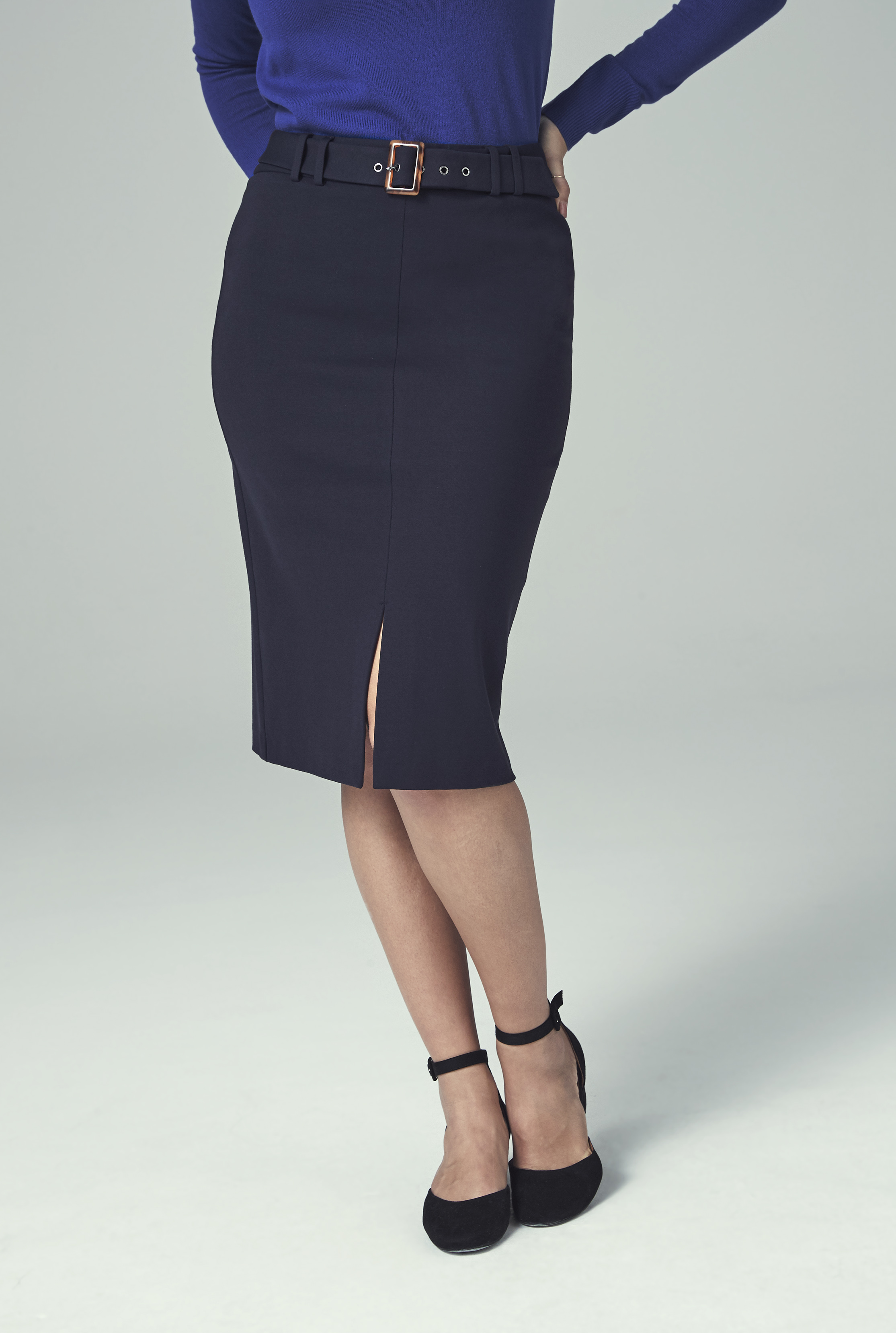 Navy Ponte Suit Skirt