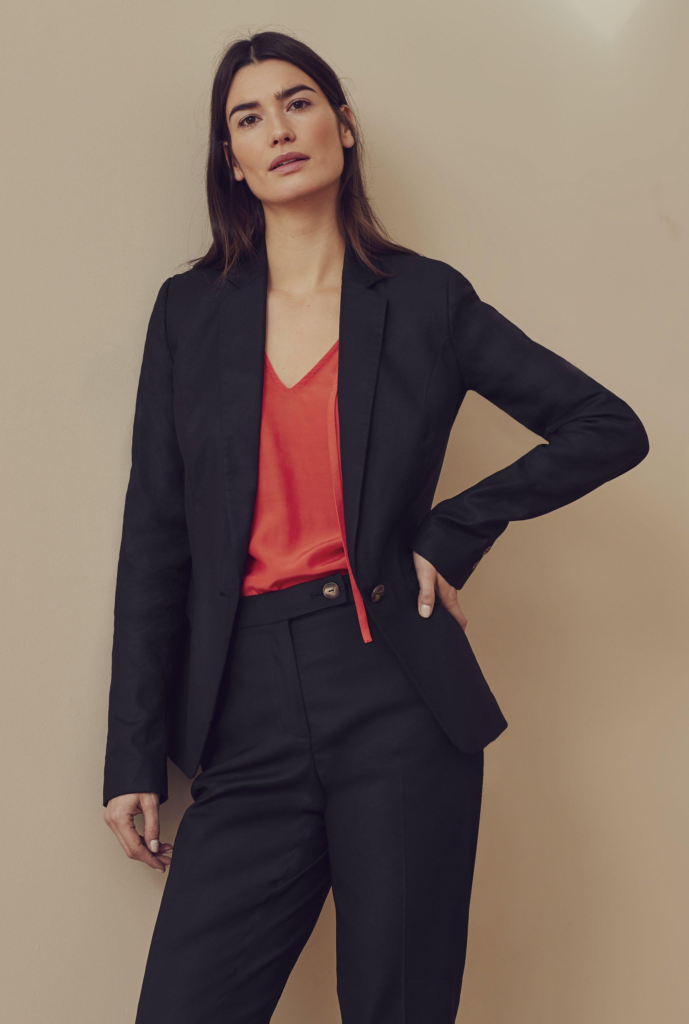 Black Natural Blend Stretch Suit Jacket