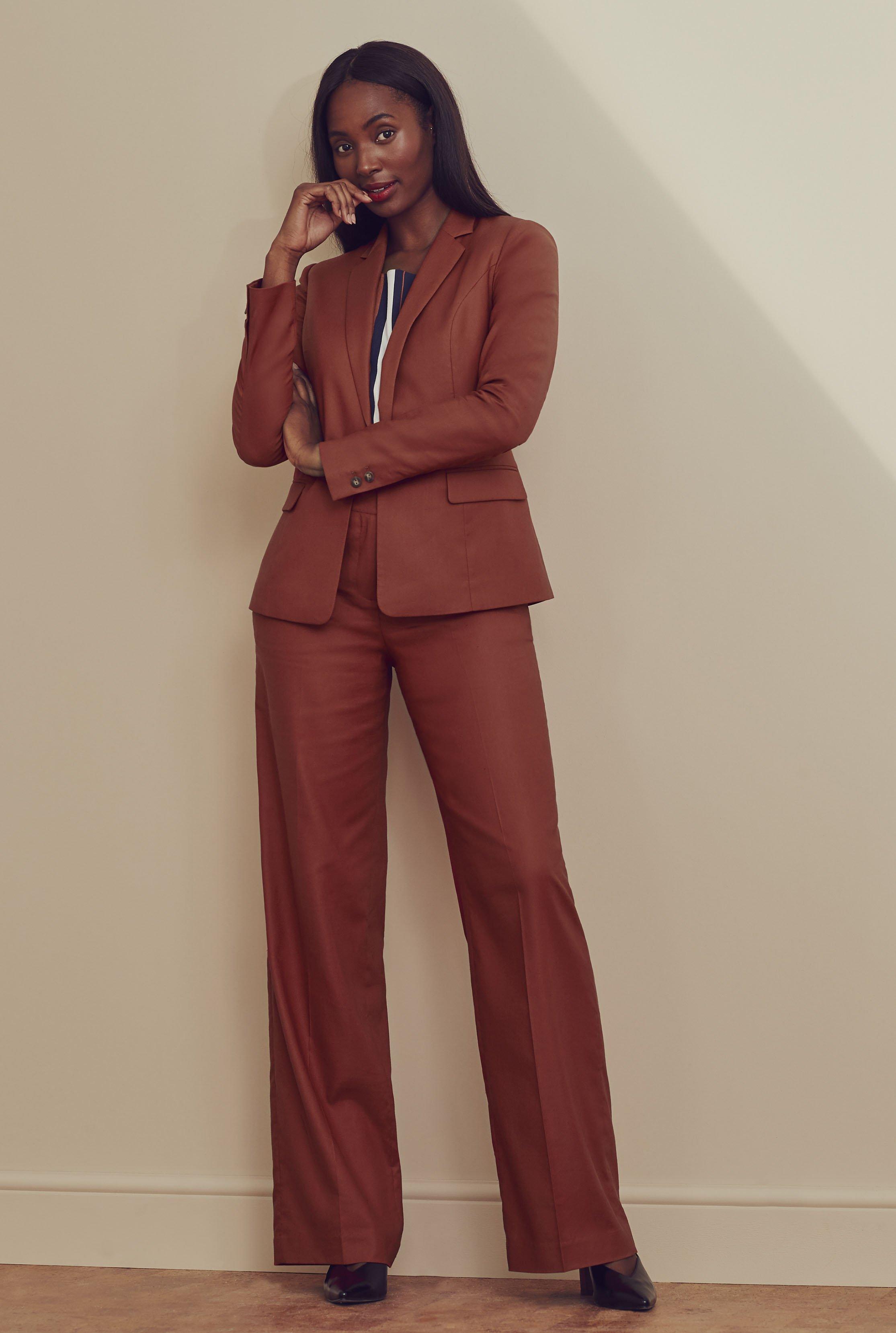 Natural Blend Stretch Wide Leg Suit Trouser