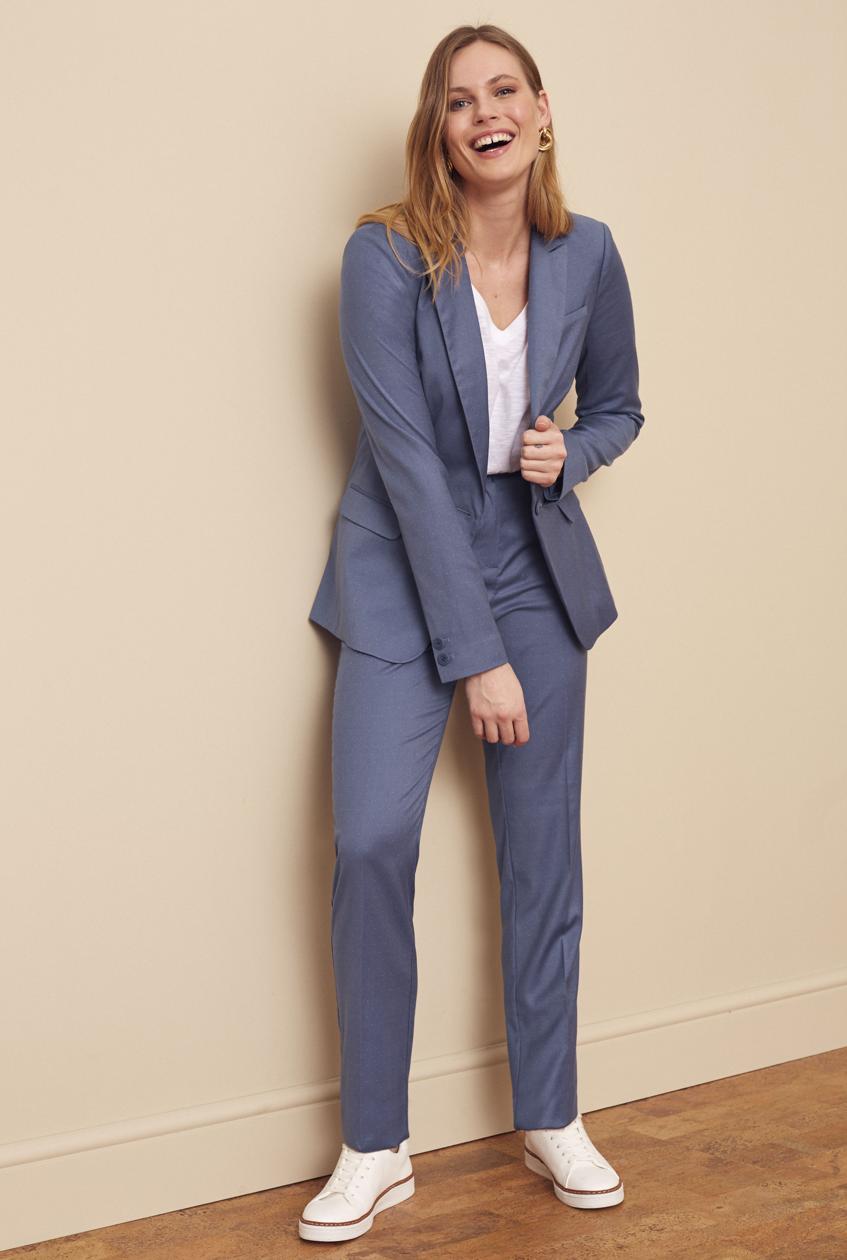 Blue Slim Leg Suit Trousers
