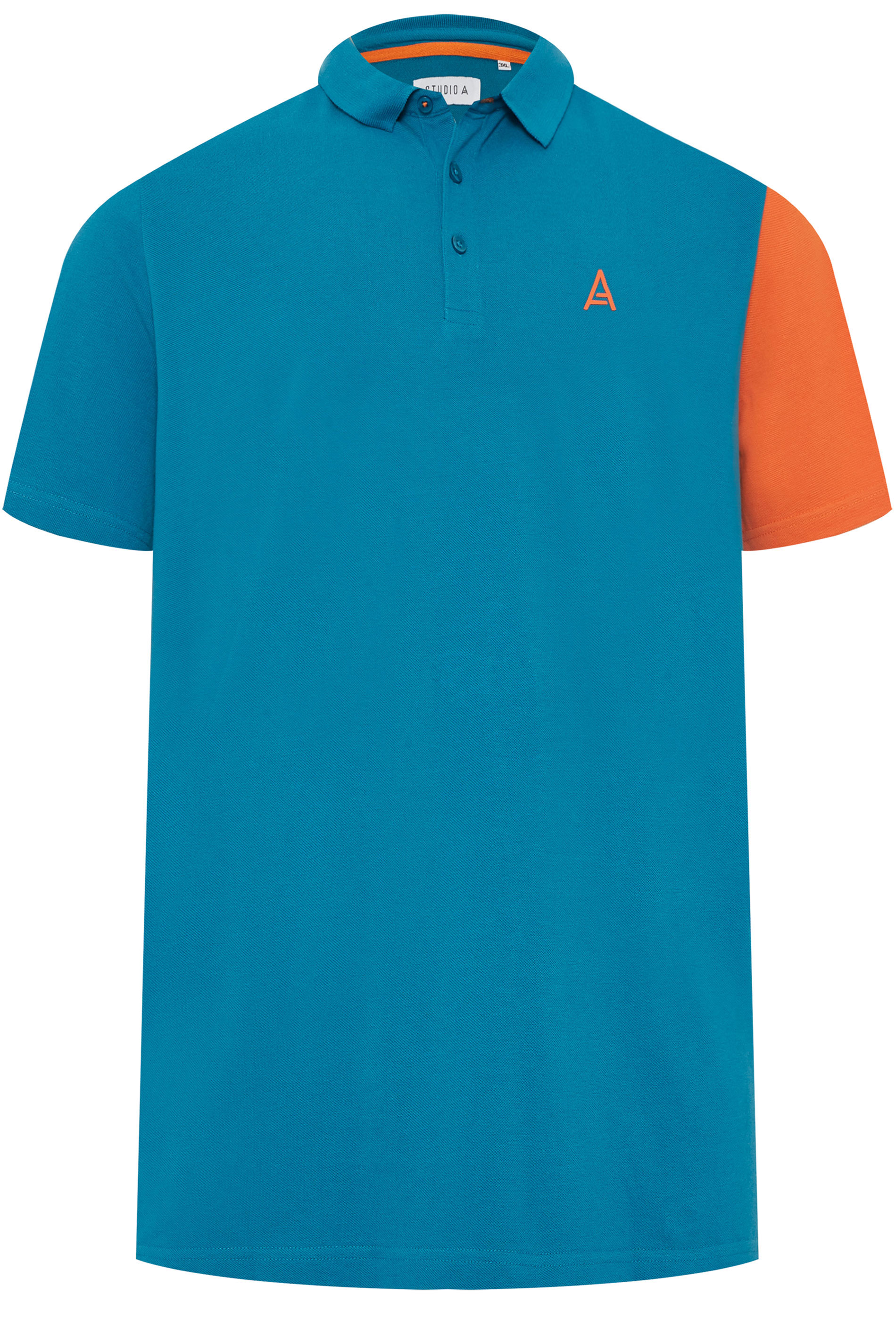STUDIO A Blue Colour Block Polo Shirt