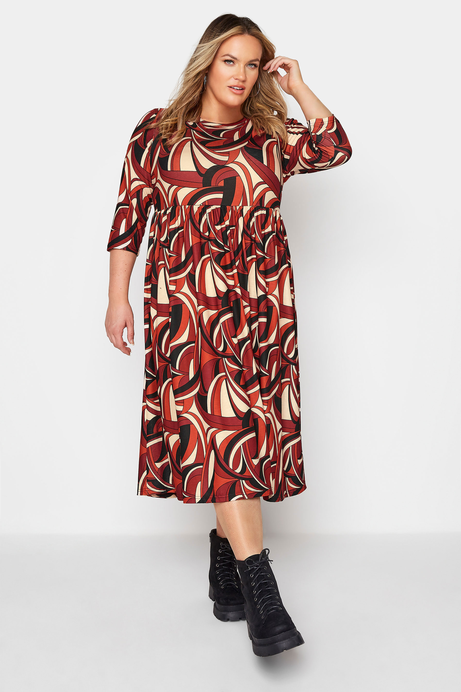 LIMITED COLLECTION Red Abstract Print Midaxi Dress_A.jpg