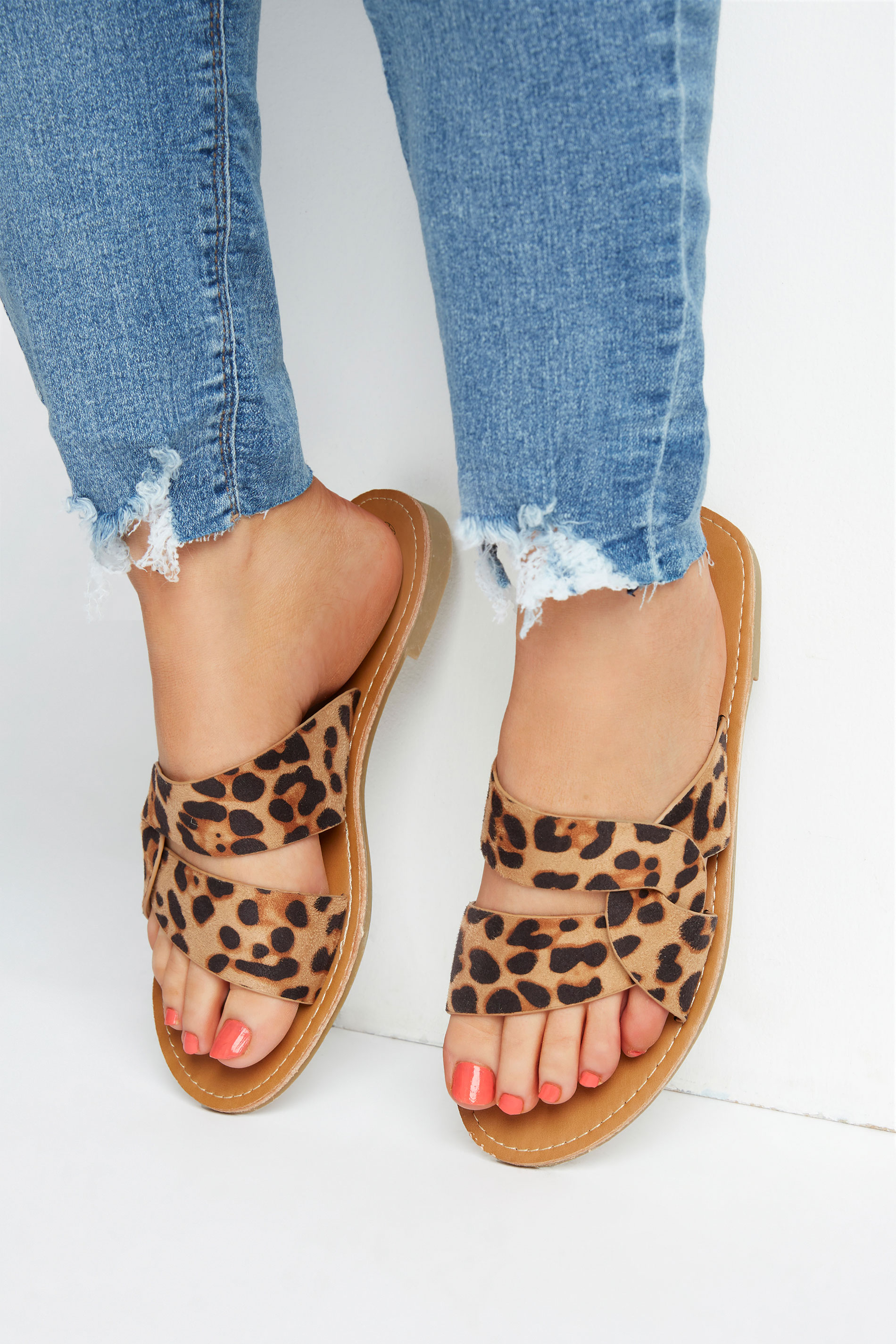 Yours Leopard Print Twist Strap Mules In Wide Fit