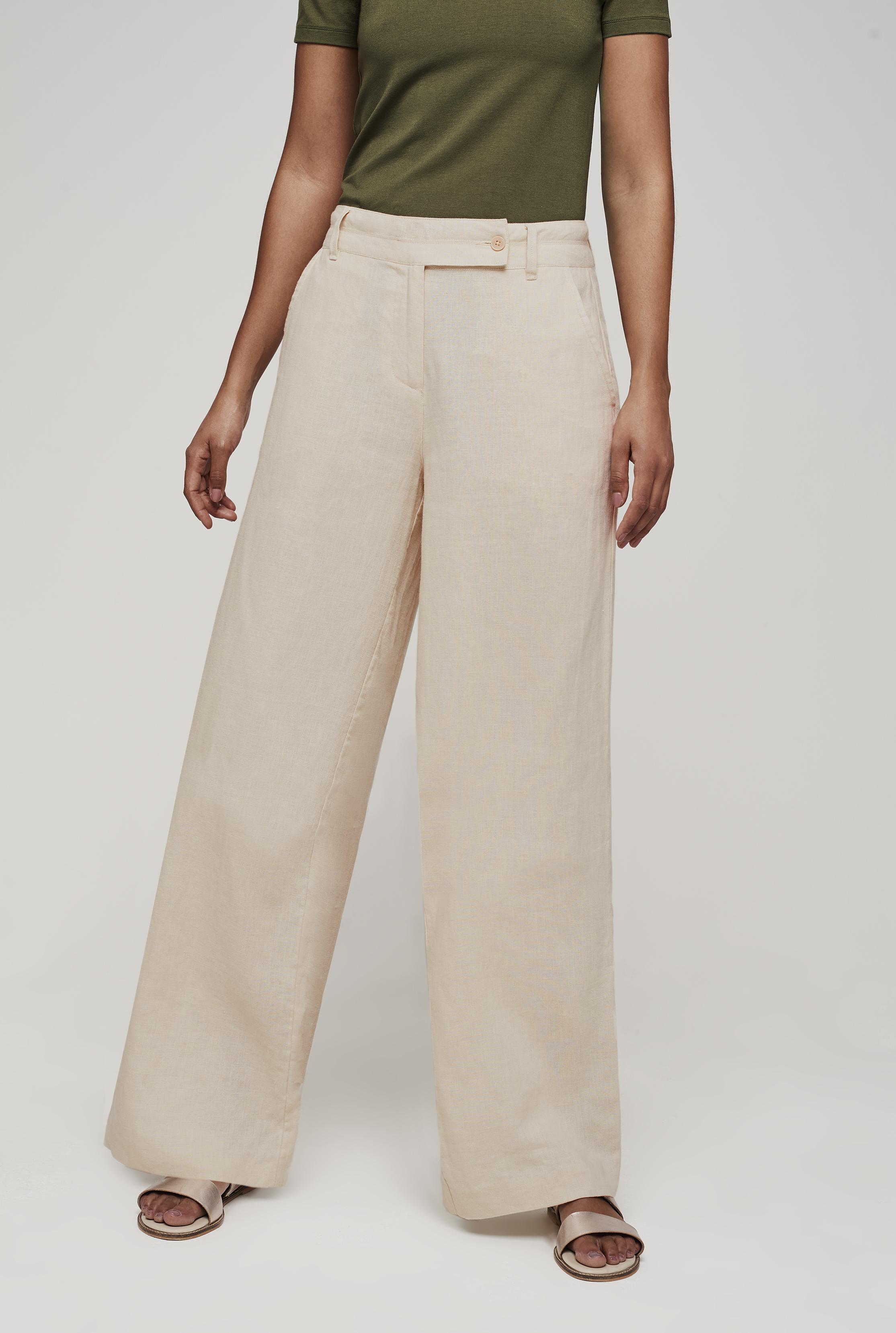 Stone Linen Wide Leg Trouser