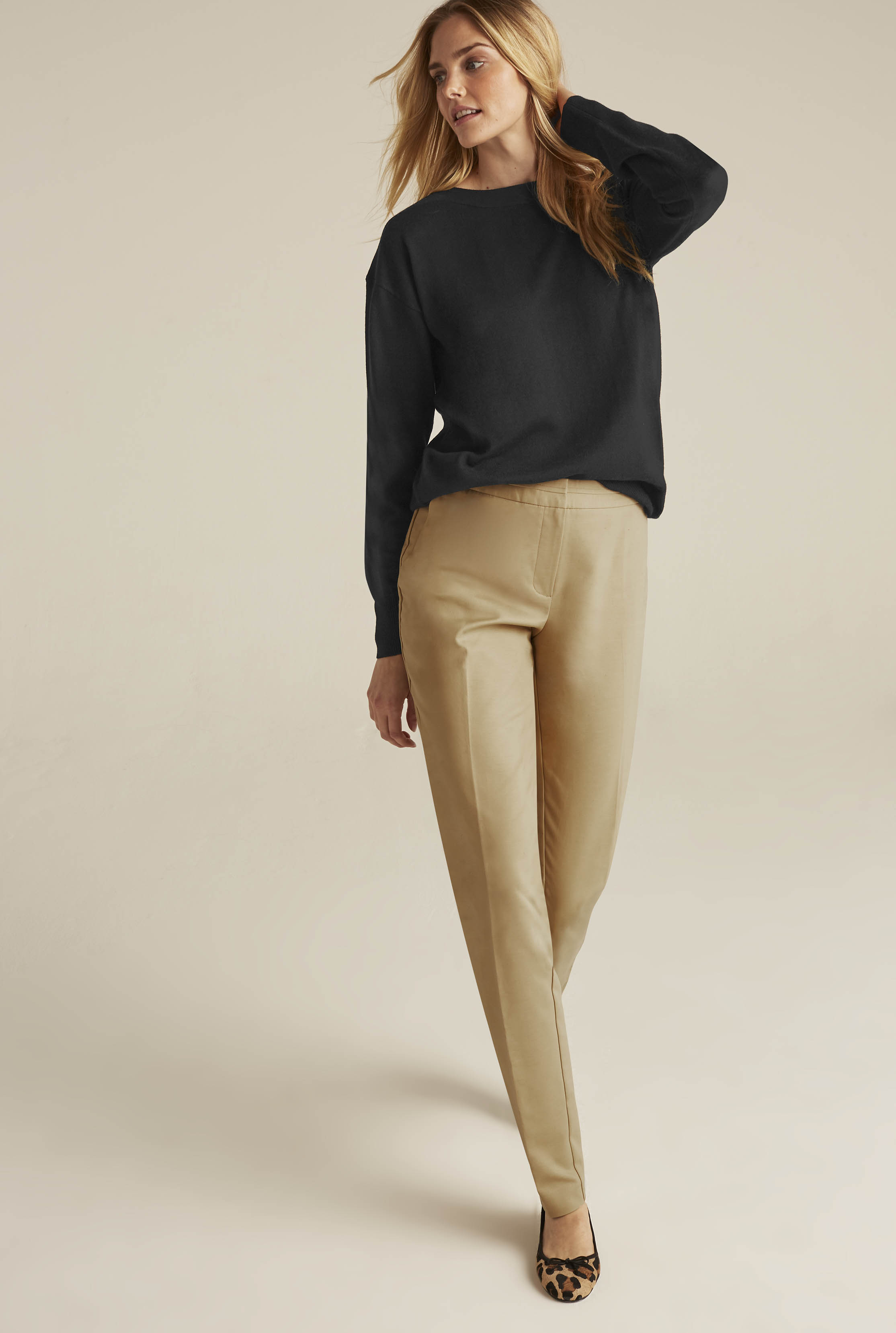 Beige Compact Cotton Trousers