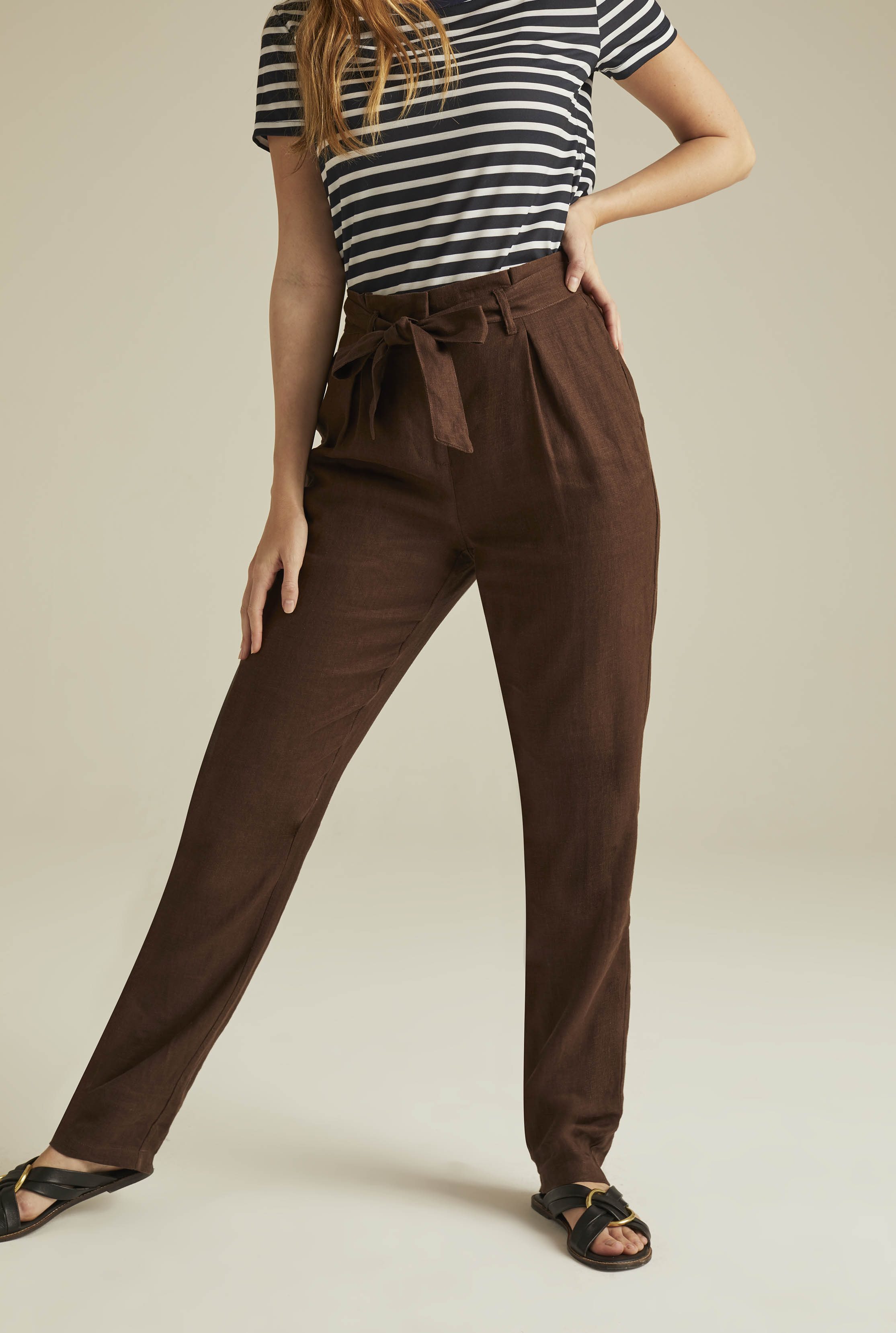 Brown Belted Paperbag Waist Linen Trousers