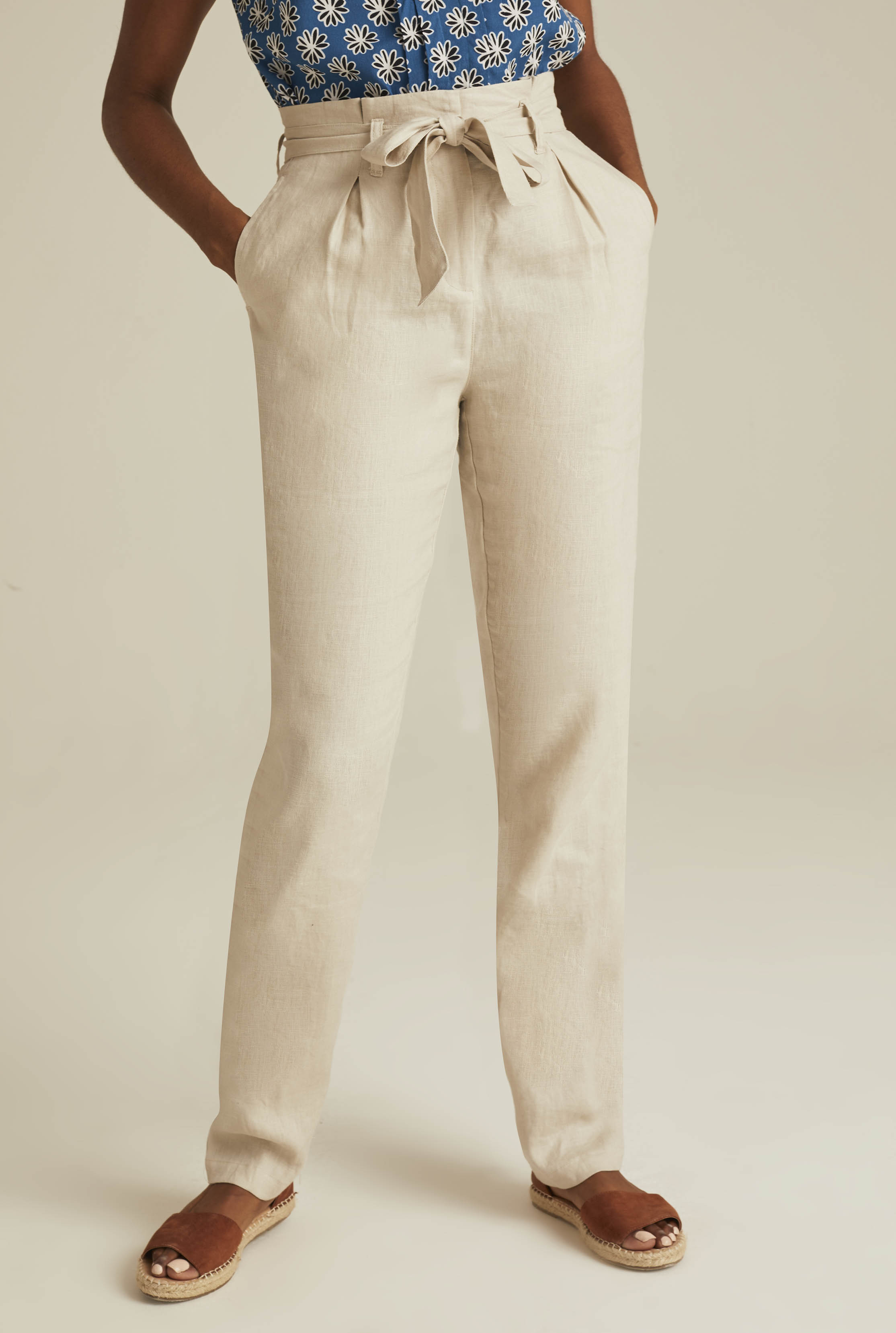 Beige Belted Paperbag Waist Linen Trousers