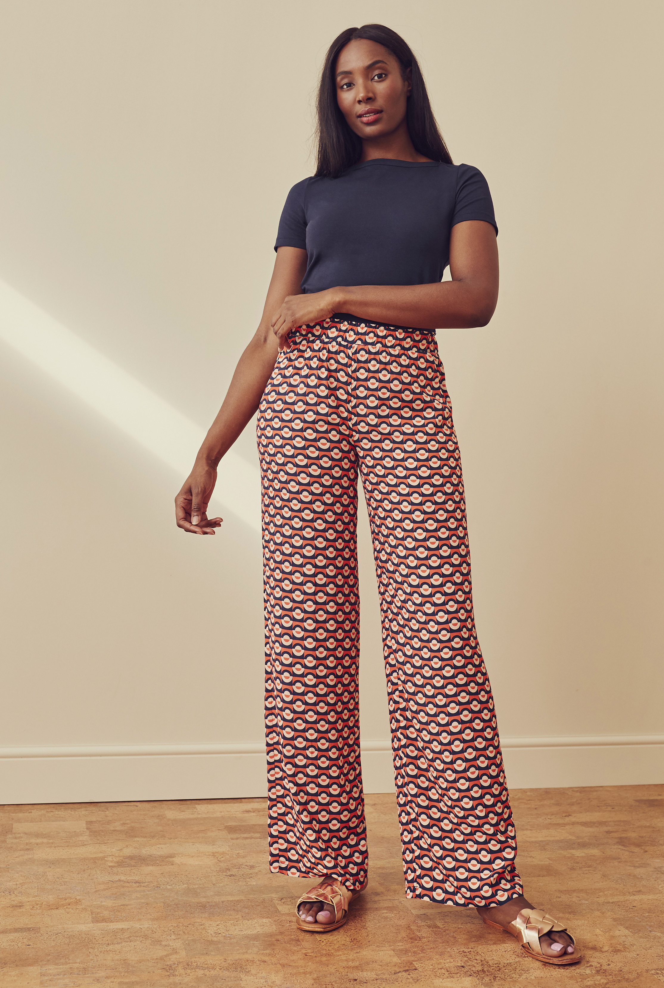 Navy & Red Geometric Print Wide Leg Trousers