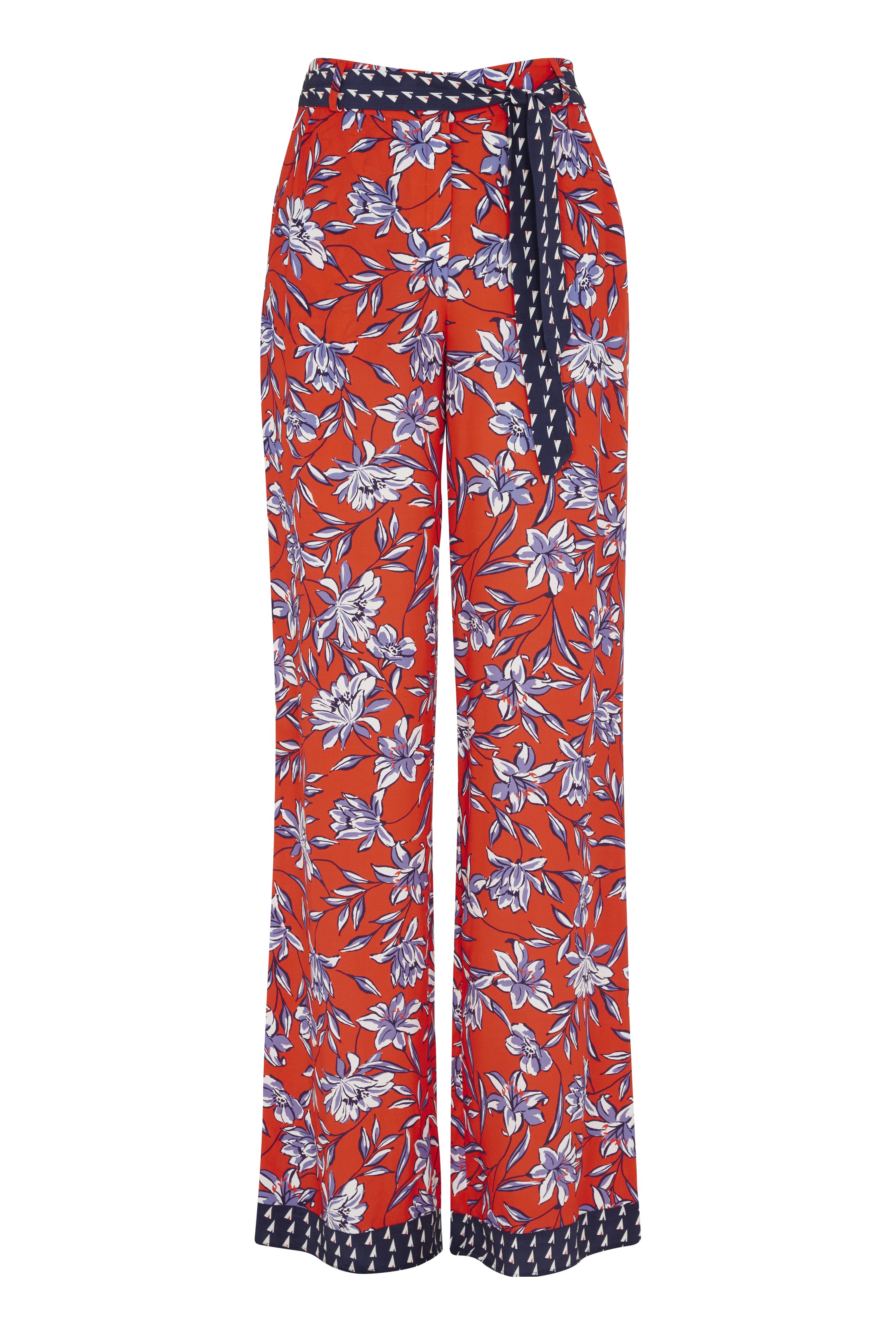 Belted Printed Wide Leg Trouser