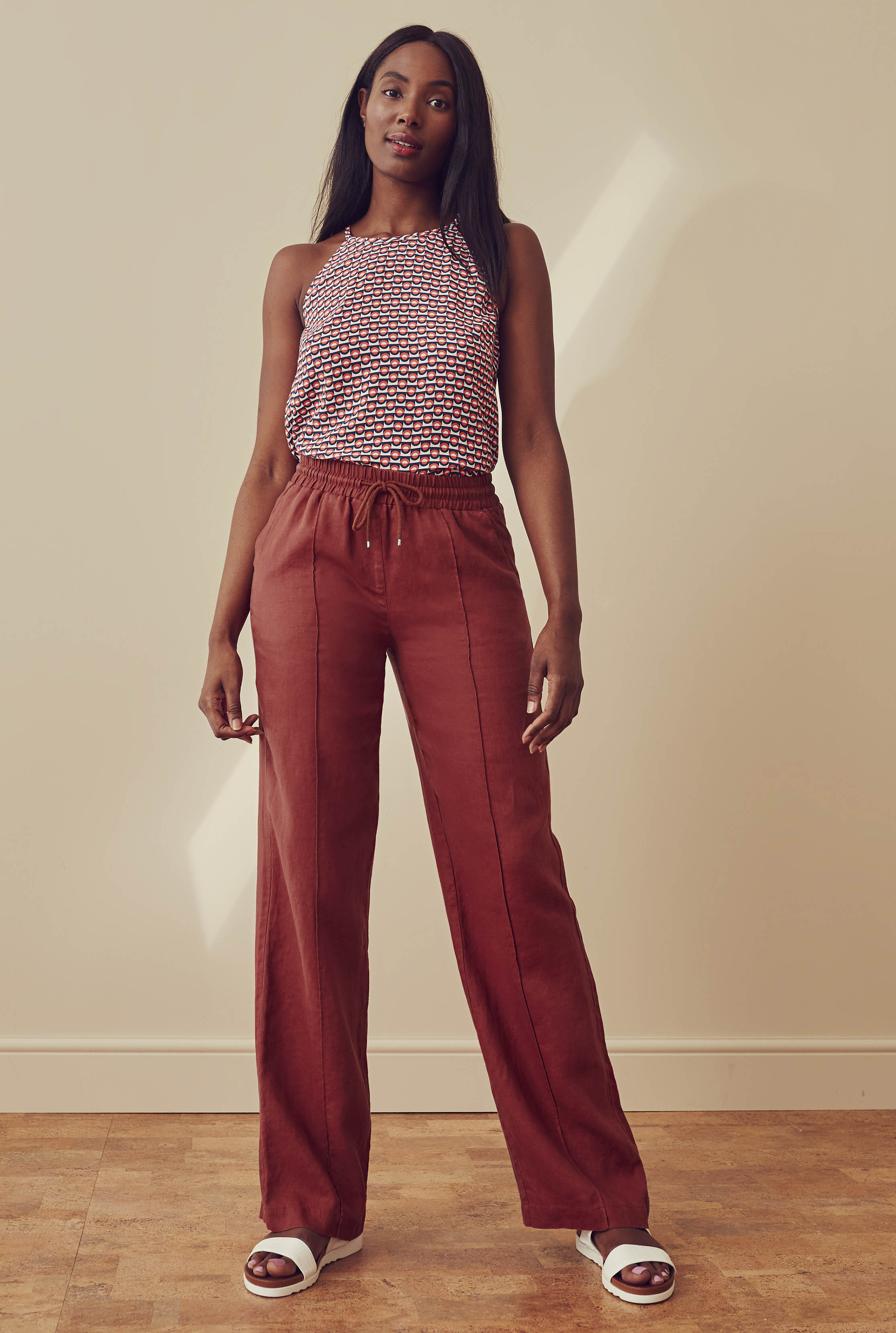 Brick Draw Cord Linen Wide Leg Trousers