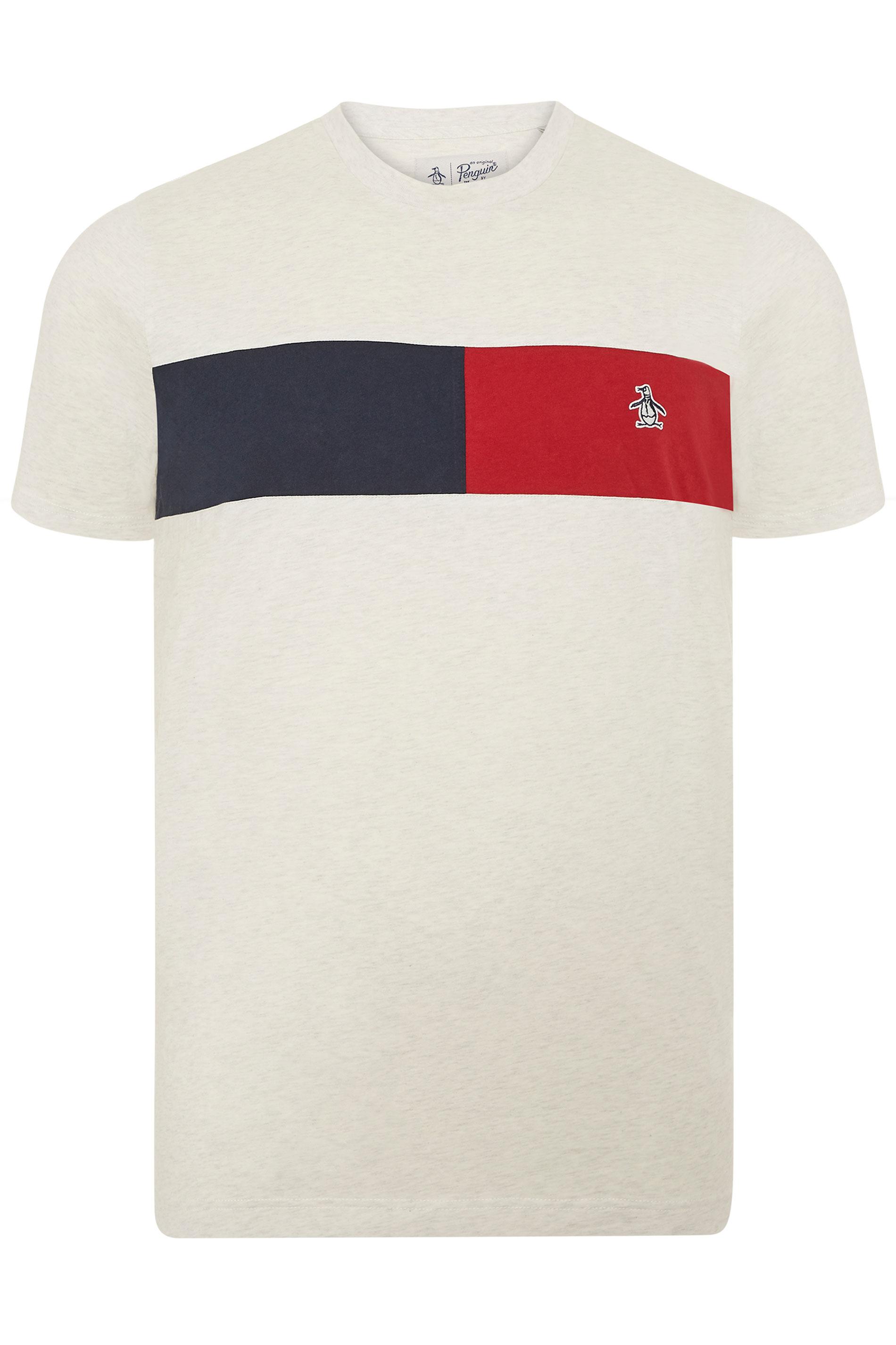 PENGUIN MUNSINGWEAR Grey Marl Colour Block T-Shirt