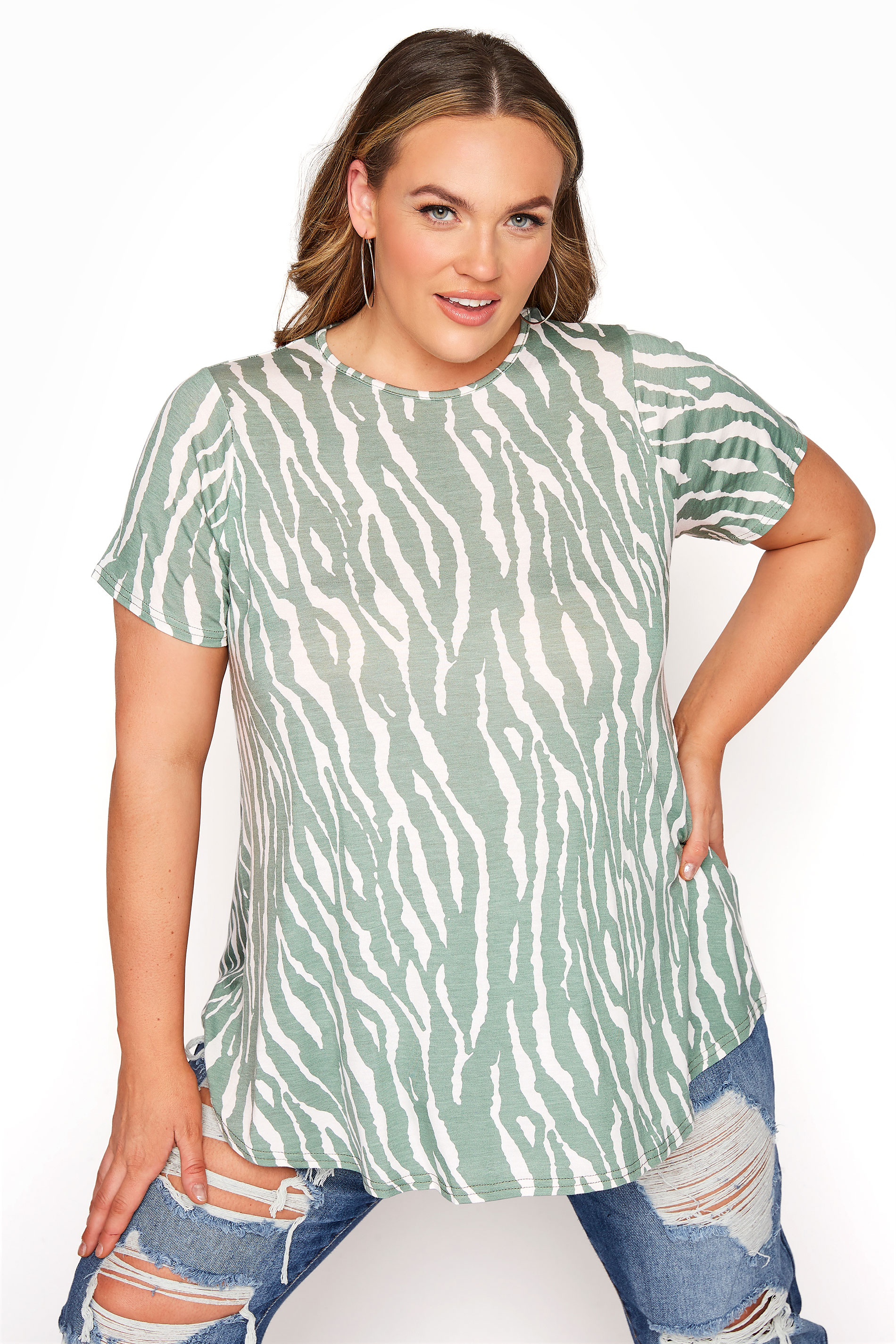 LIMITED COLLECTION Sage Green Zebra Print Swing Top_A.jpg