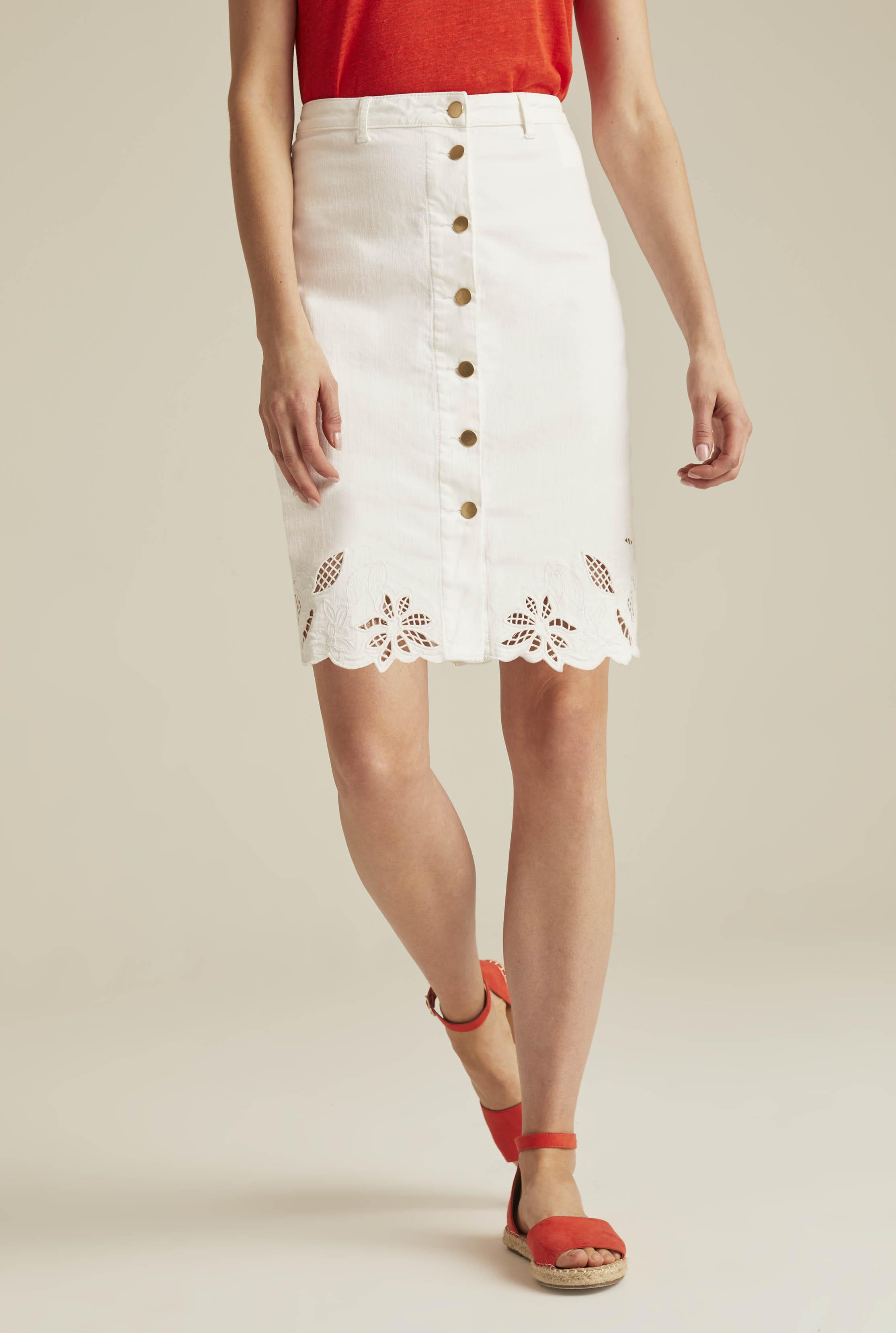 Embroidered Button Through Denim Skirt