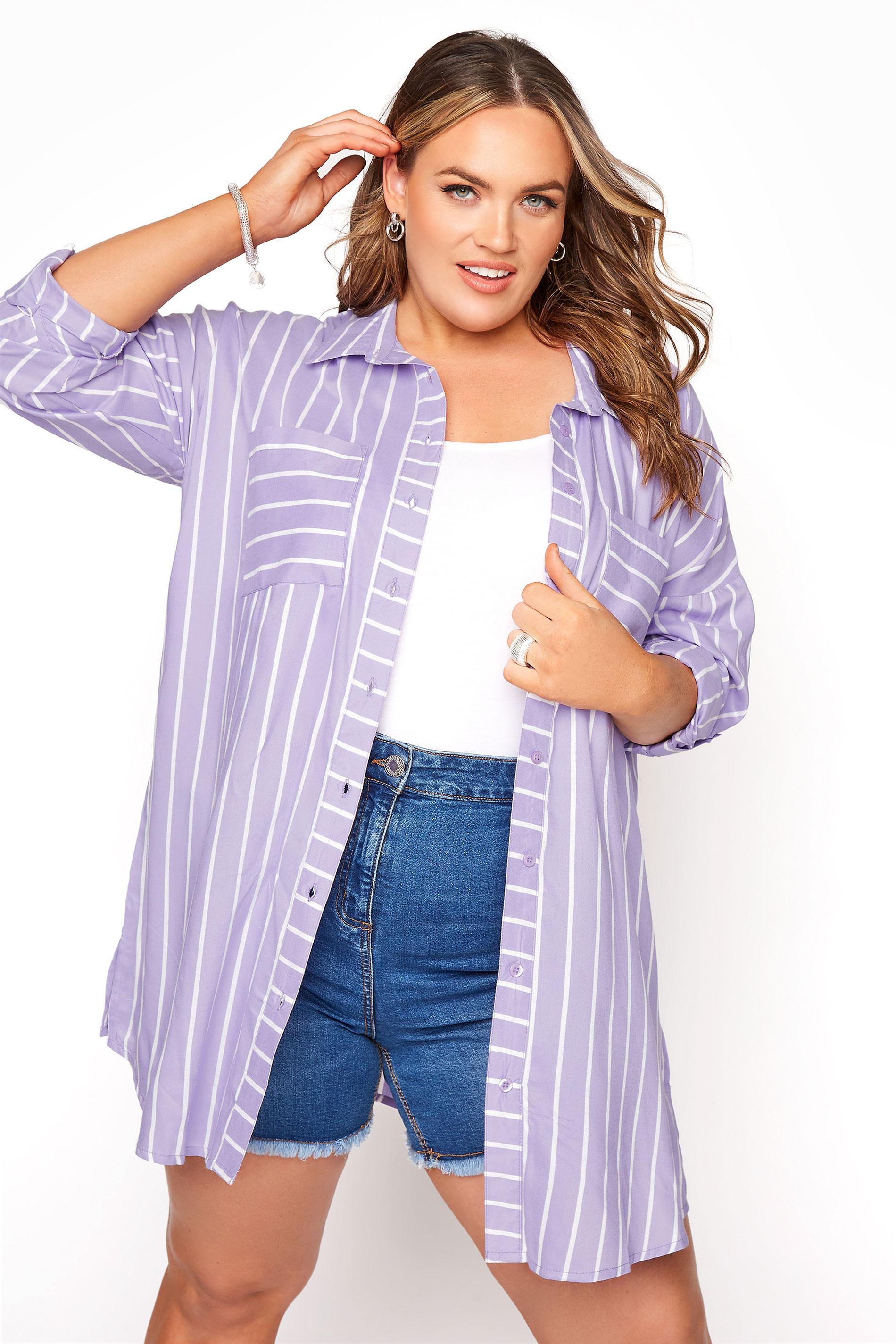 Lilac Striped Oversized Drop Shoulder Shirt_A.jpg