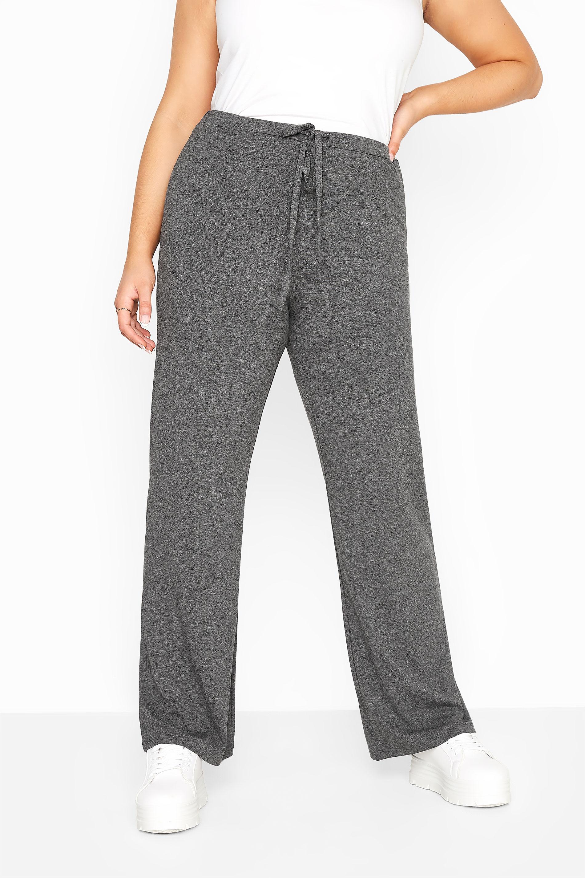 Charcoal Grey Wide Leg Pull On Stretch Jersey Yoga Pants_B.jpg
