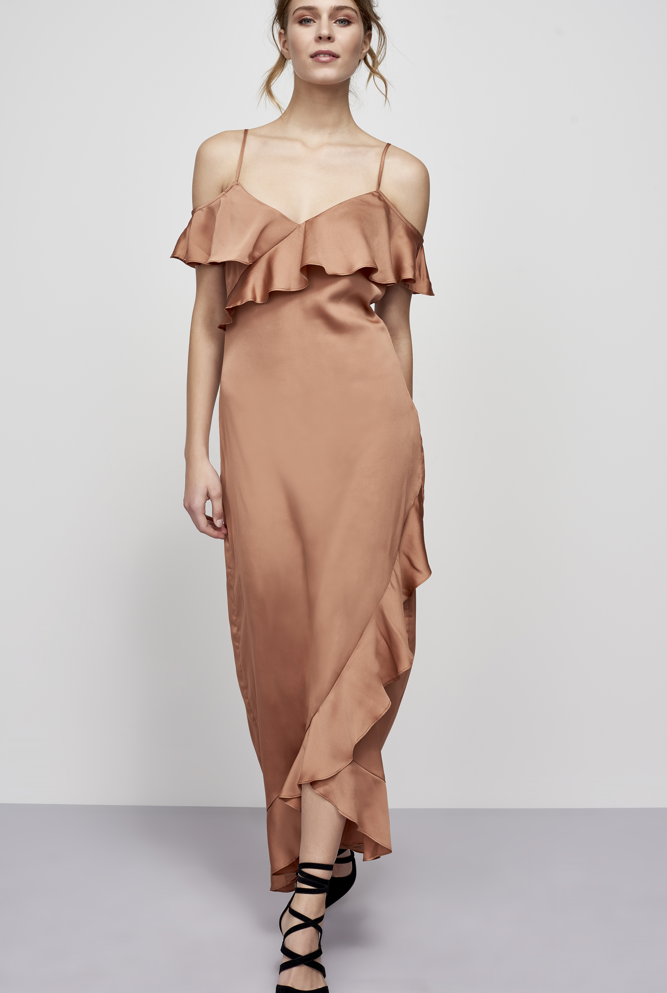 Y.A.S Tall Beige Fielle Frill Maxi Dress
