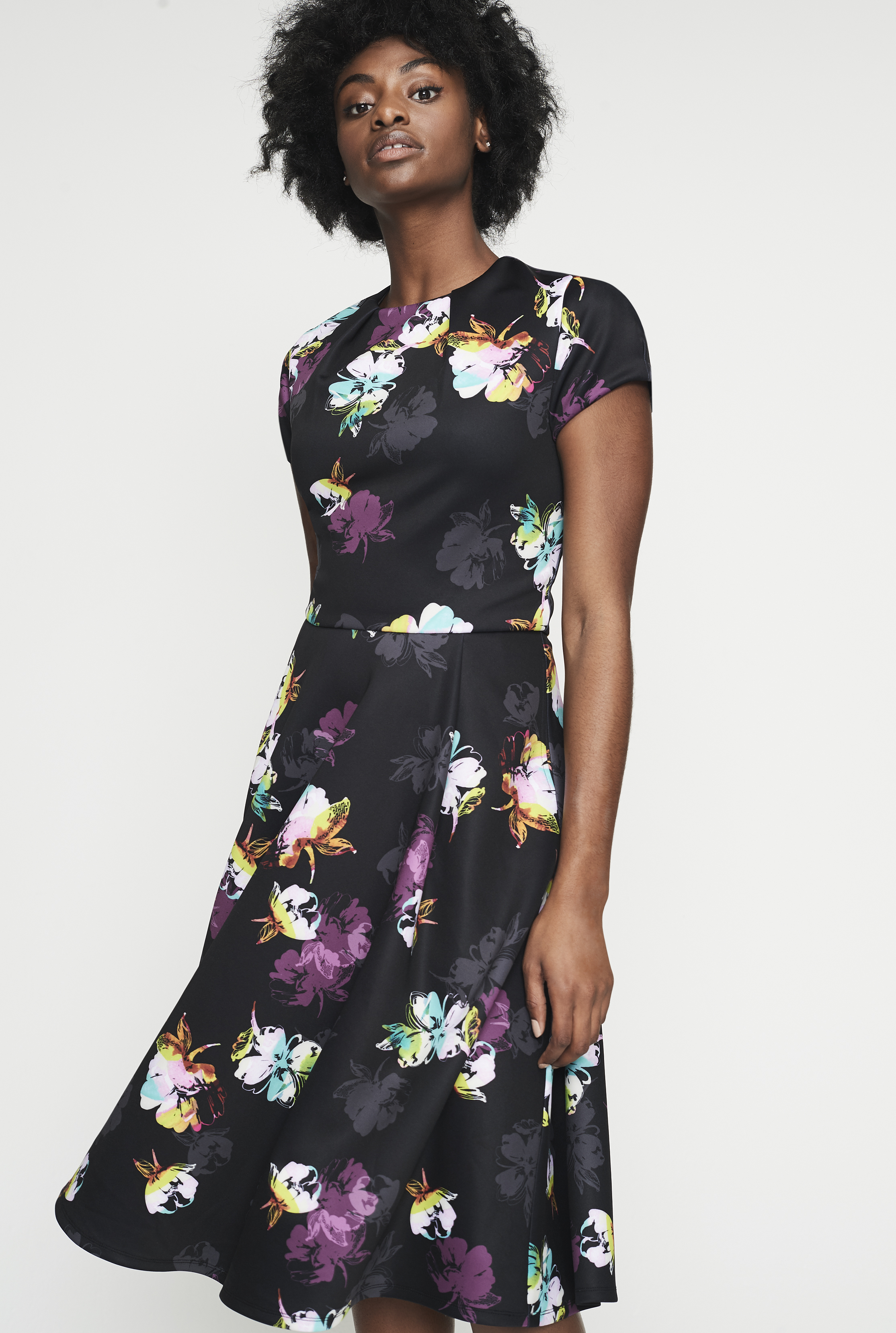 Printed Fit and Flare Scuba Dress