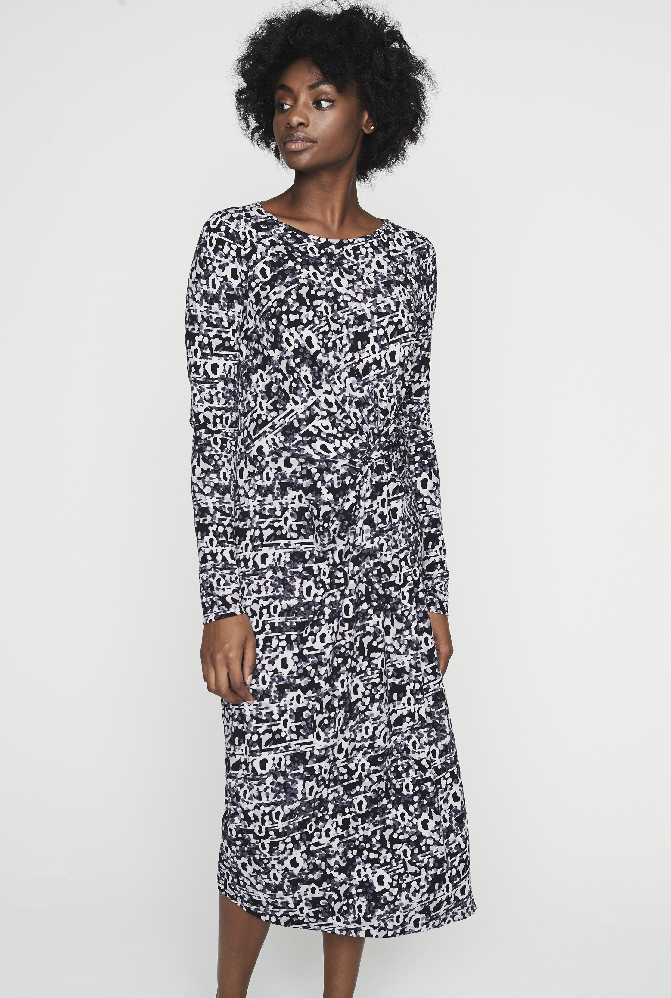 Asymmetric Jersey Blurred Animal Dress