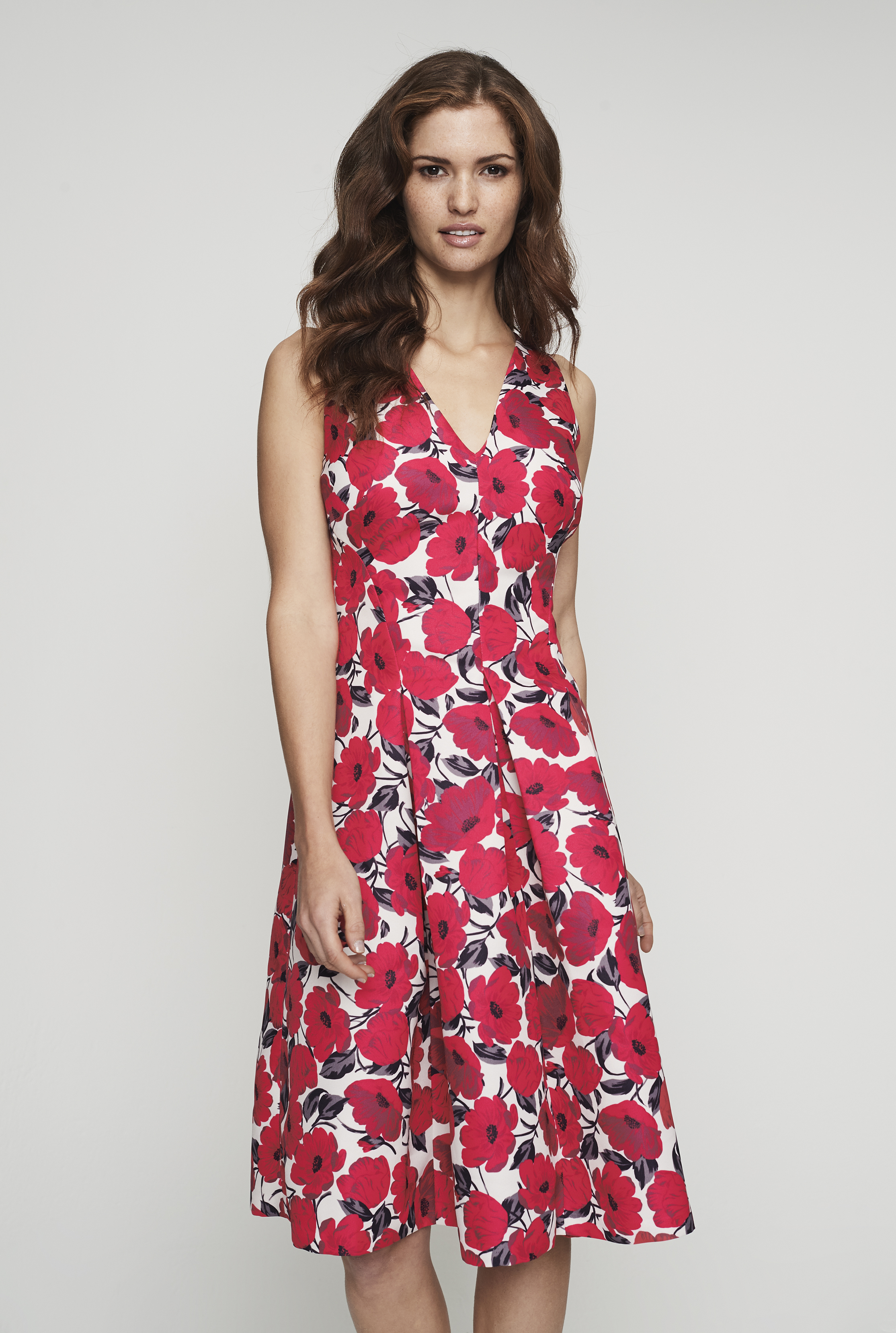 Poppy Print Fit and Flare Dress