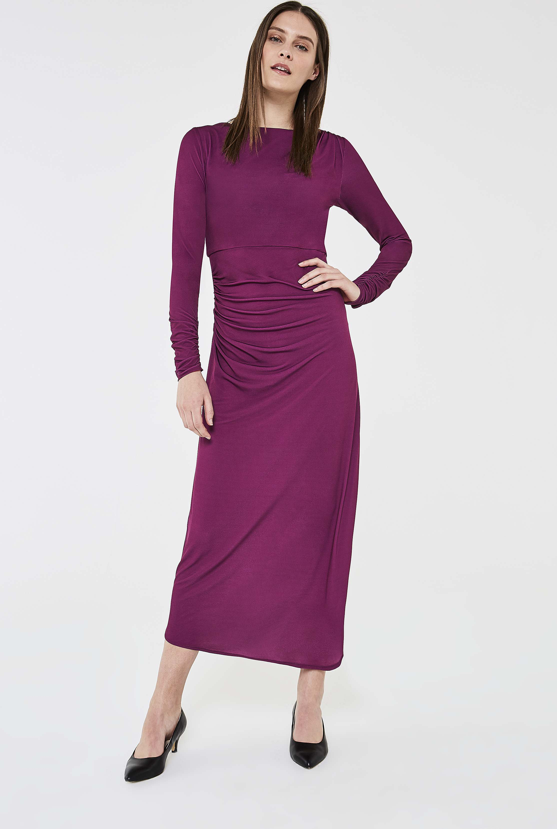 Pink Ruched Detail Midi Dress