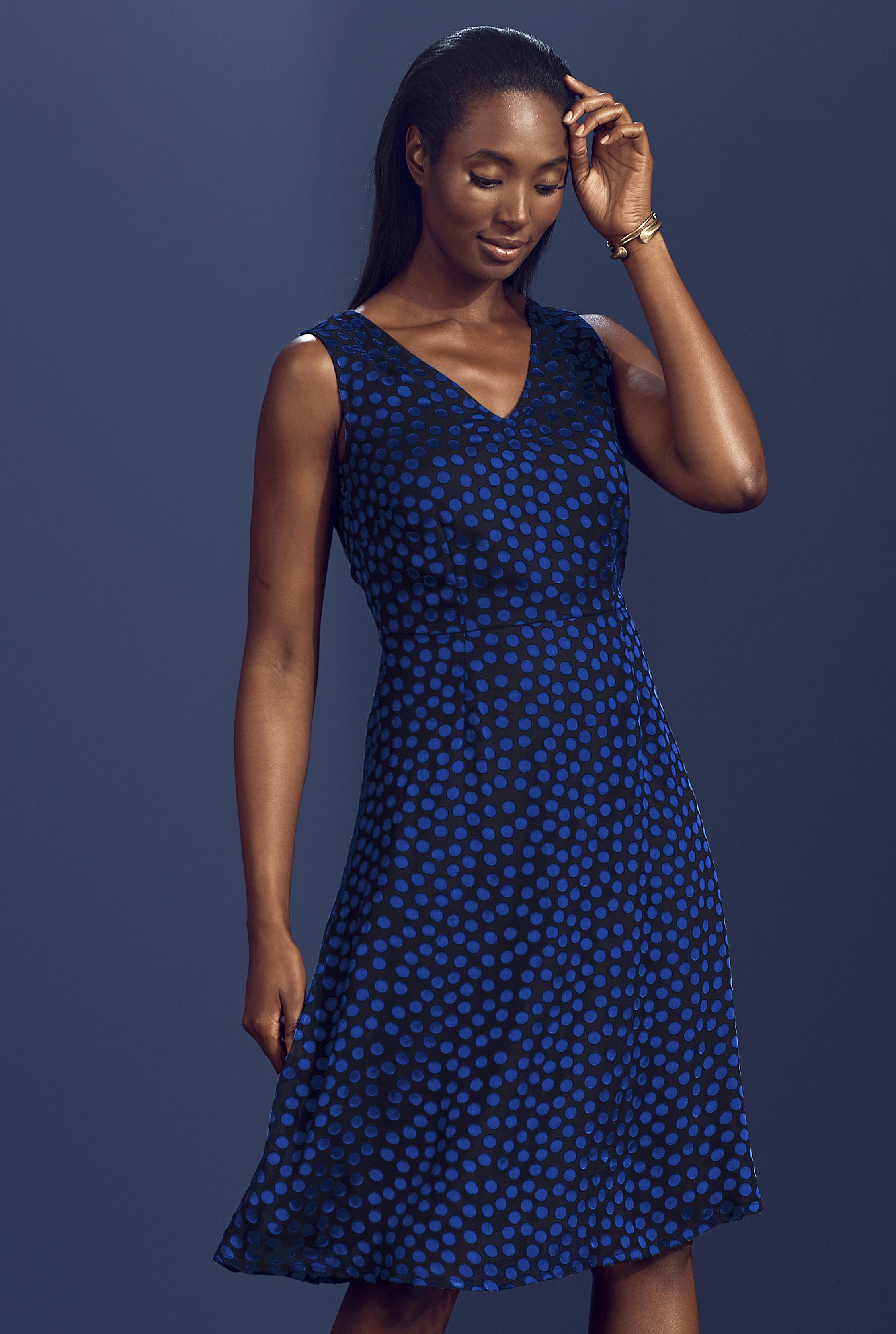 Blue Flocked Spot Fit and Flare Dress