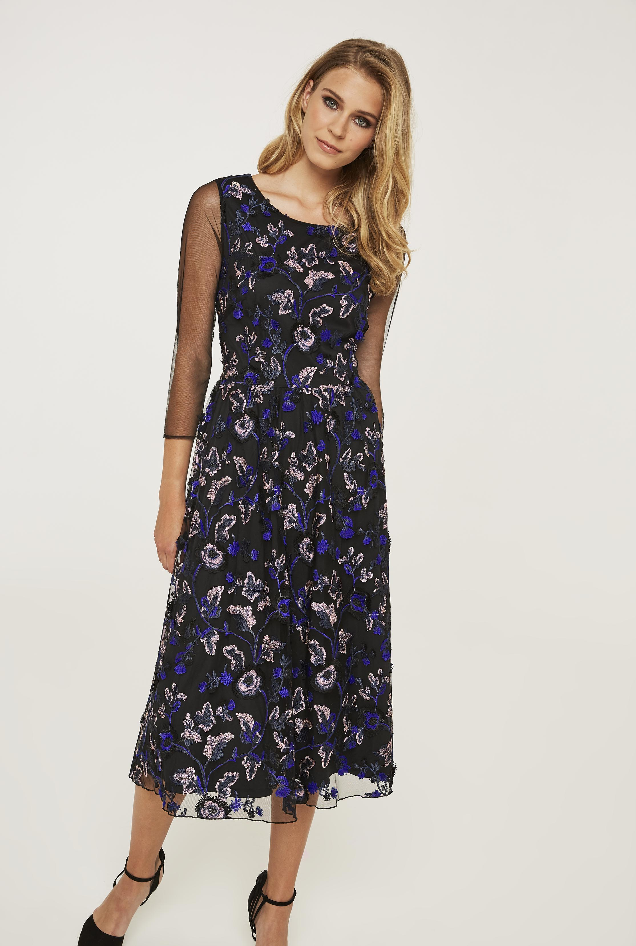 Embroidered Flower Mesh Dress
