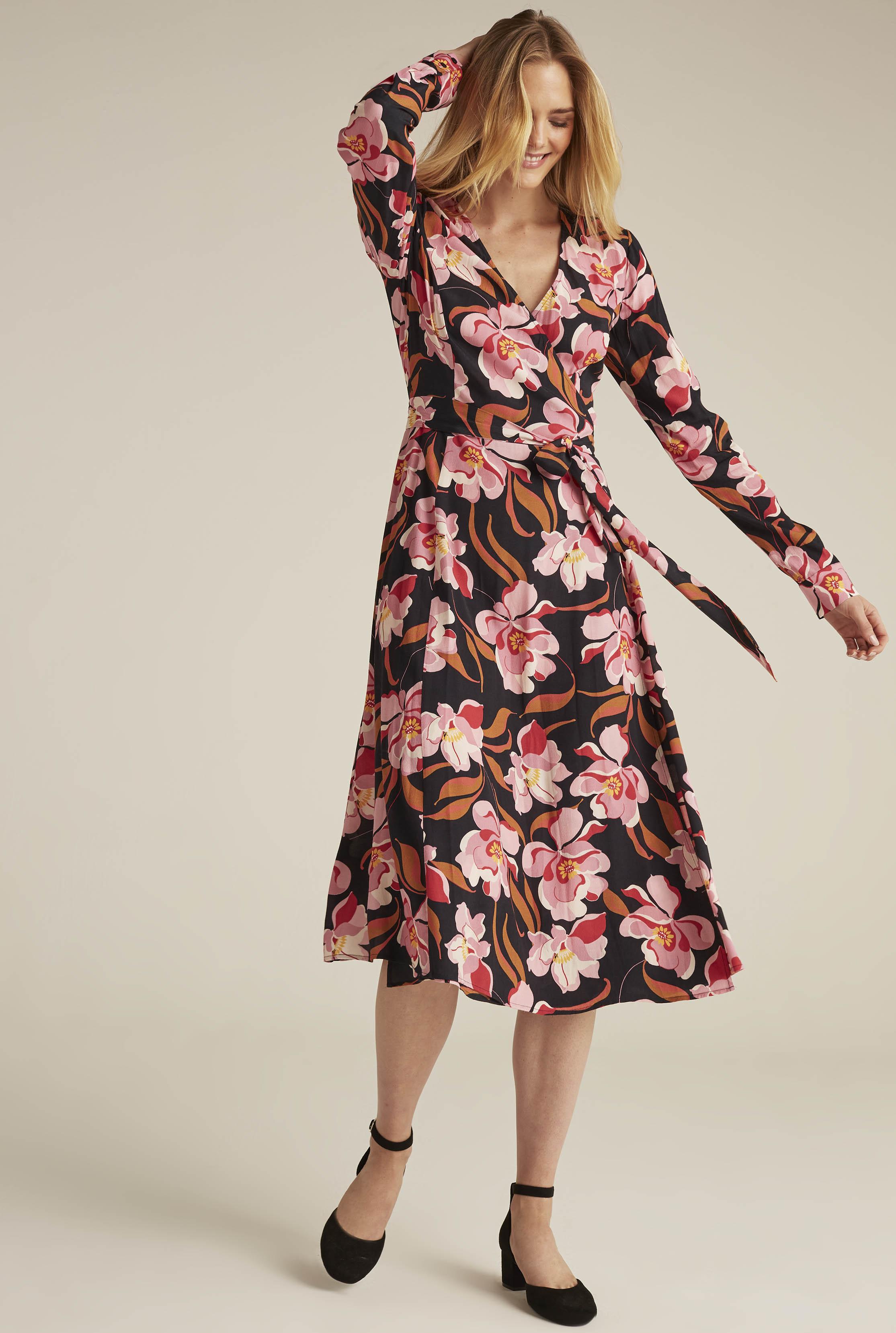 Black Floral Print Woven Wrap Dress