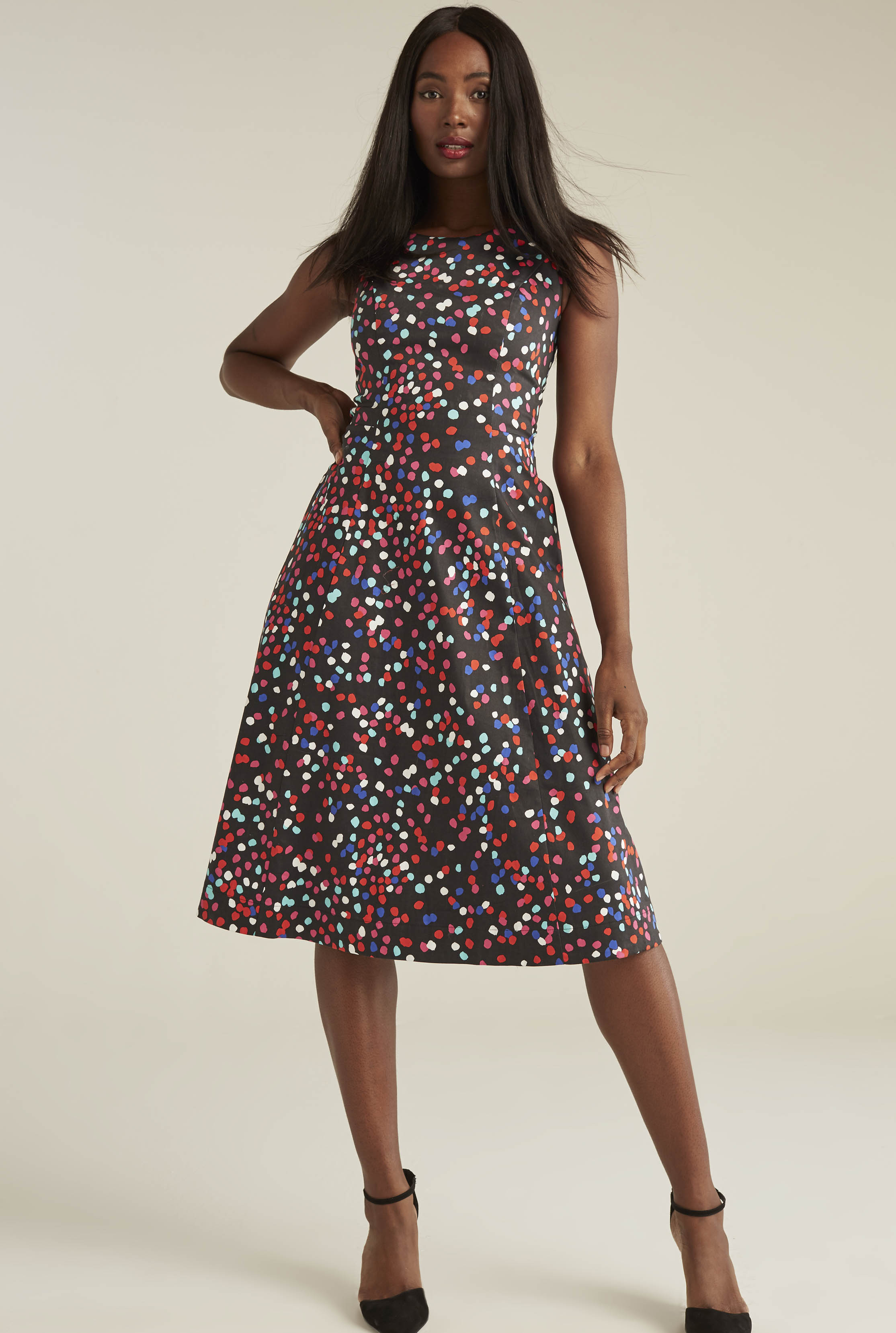 Multi Dot Cotton Sateen Fit and Flare