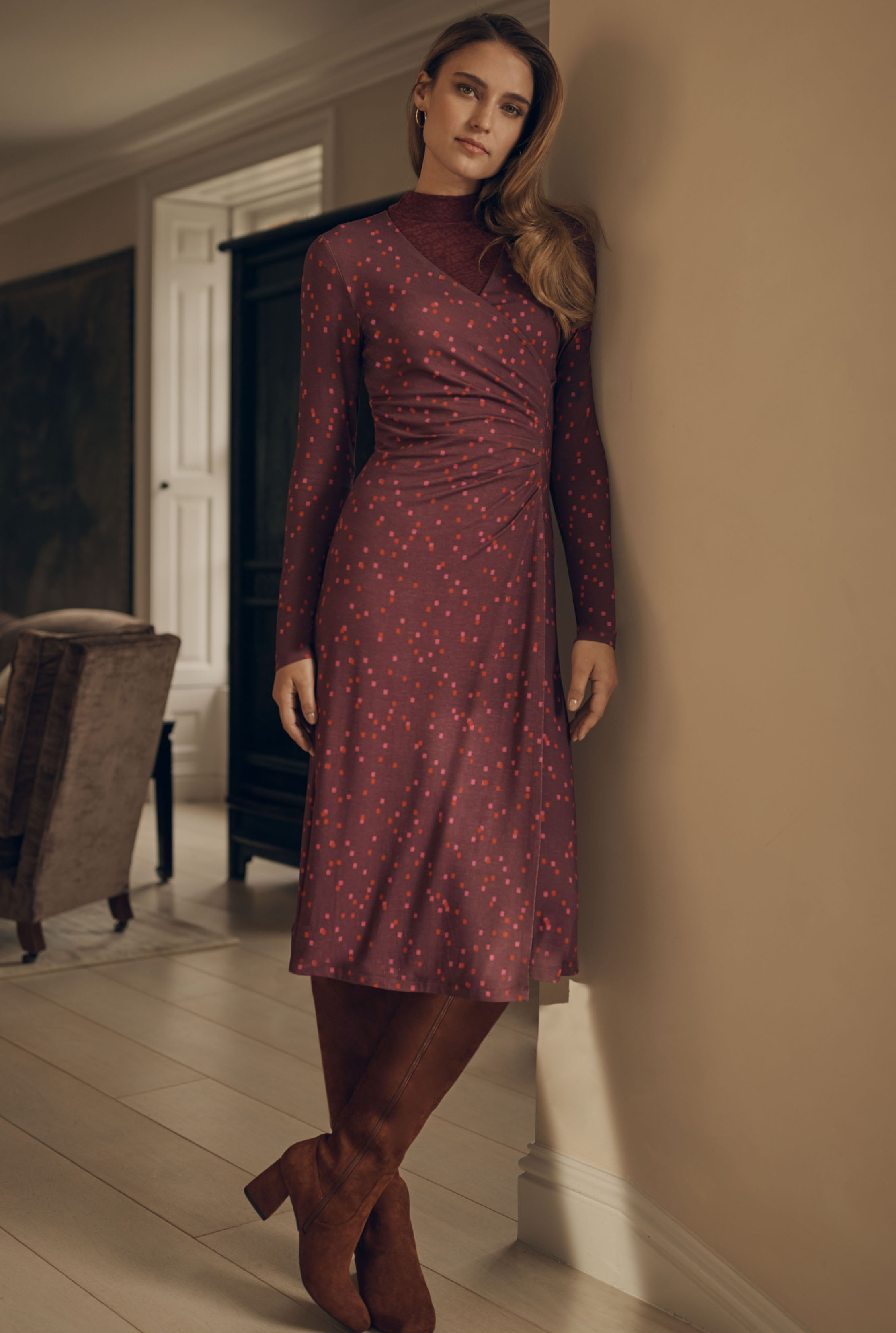 Burgundy Square Print Bodycon Dress