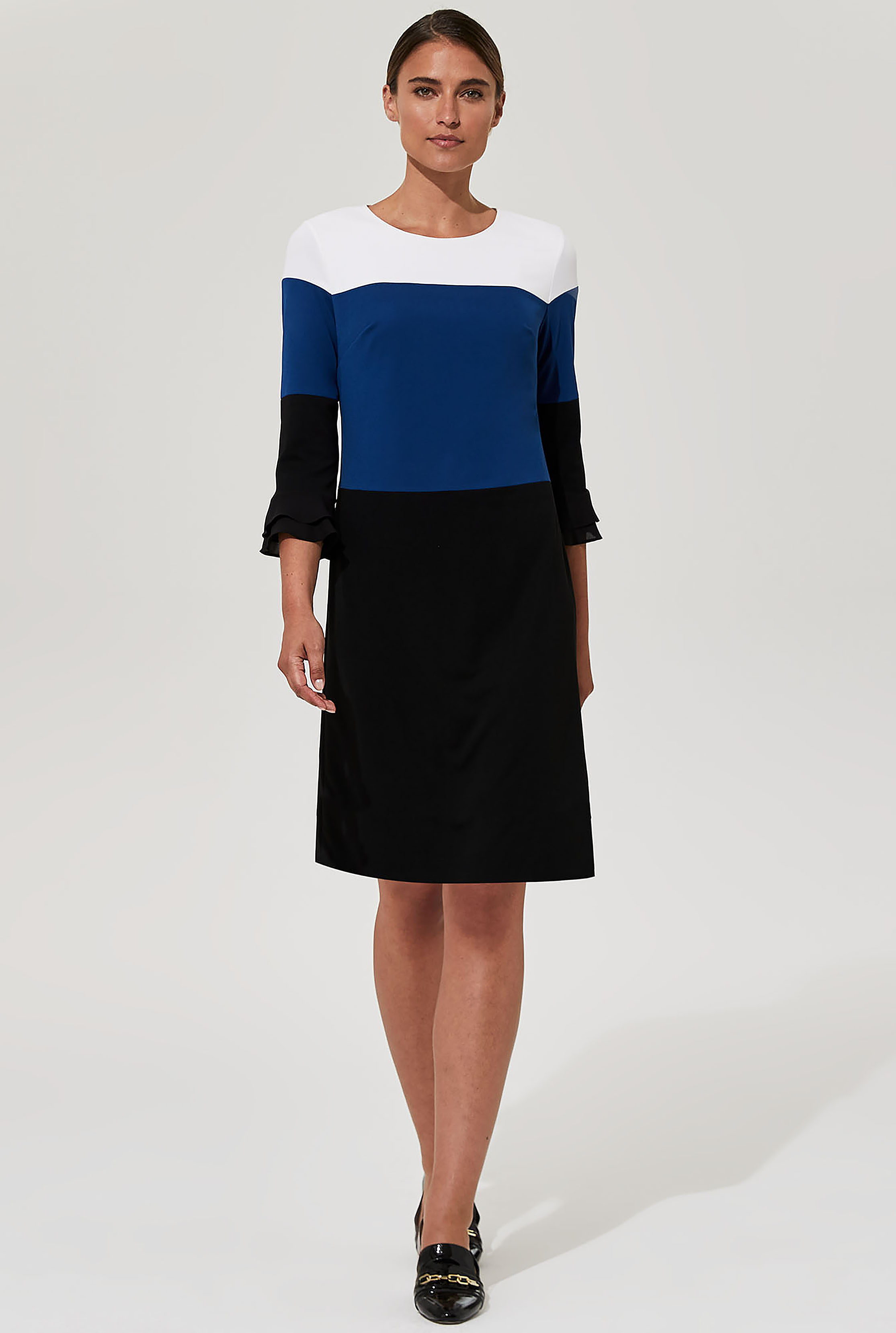 Karl Lagerfeld Paris Black and Blue Colour Block Dress