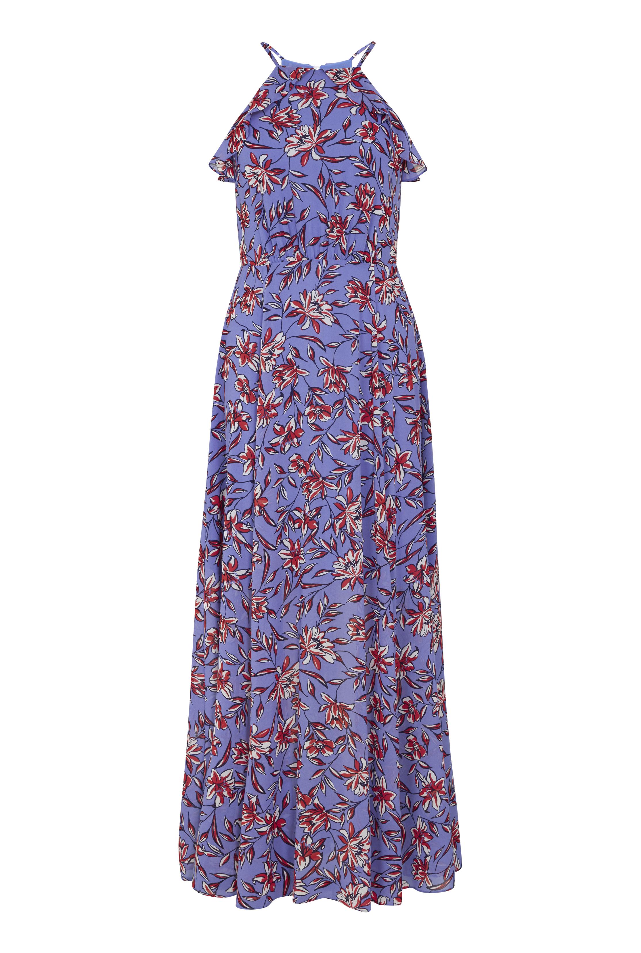 Blue Floral Ruffle Neck Chiffon Maxi Dress
