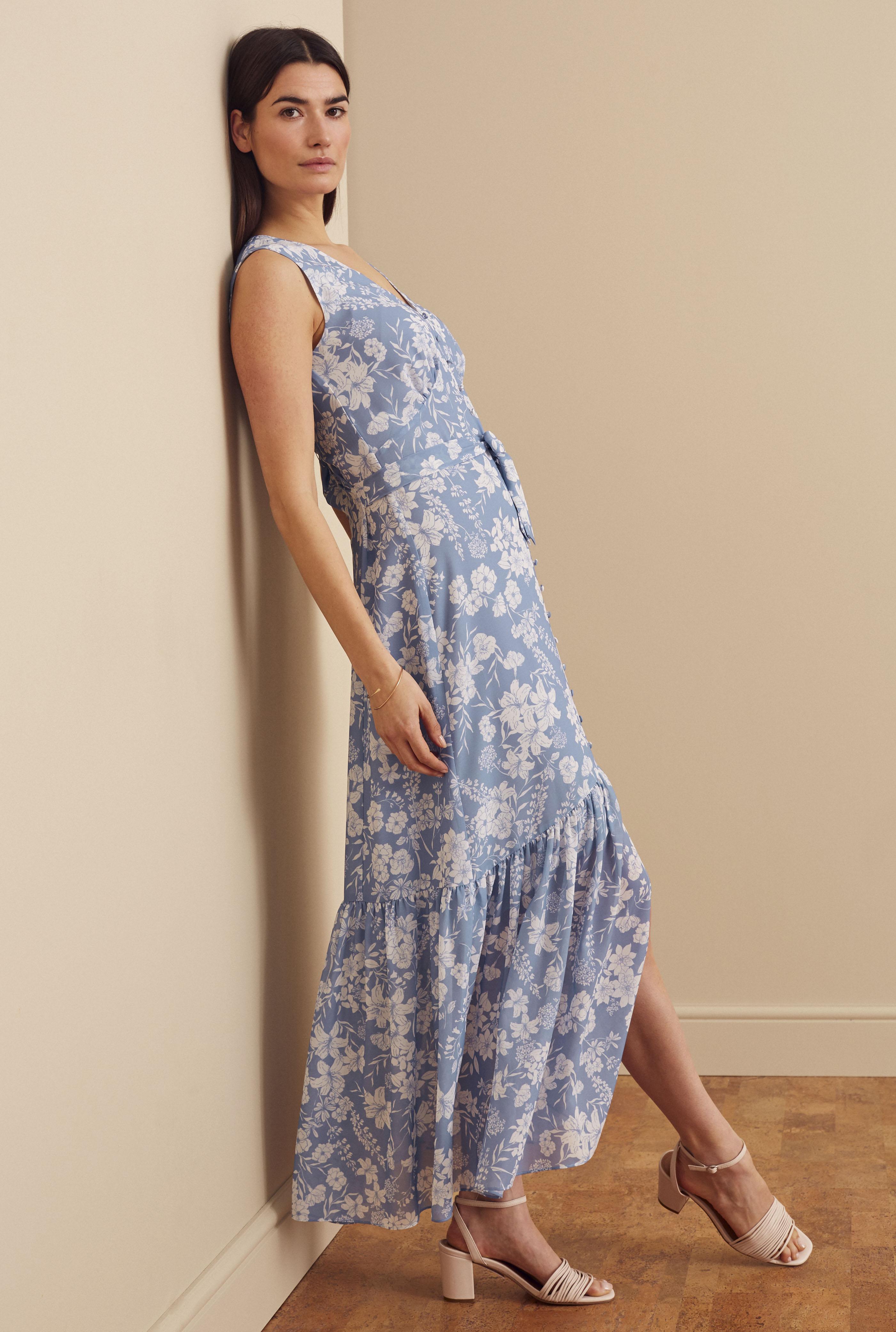 Blue Floral Print Button Through Tiered Dress
