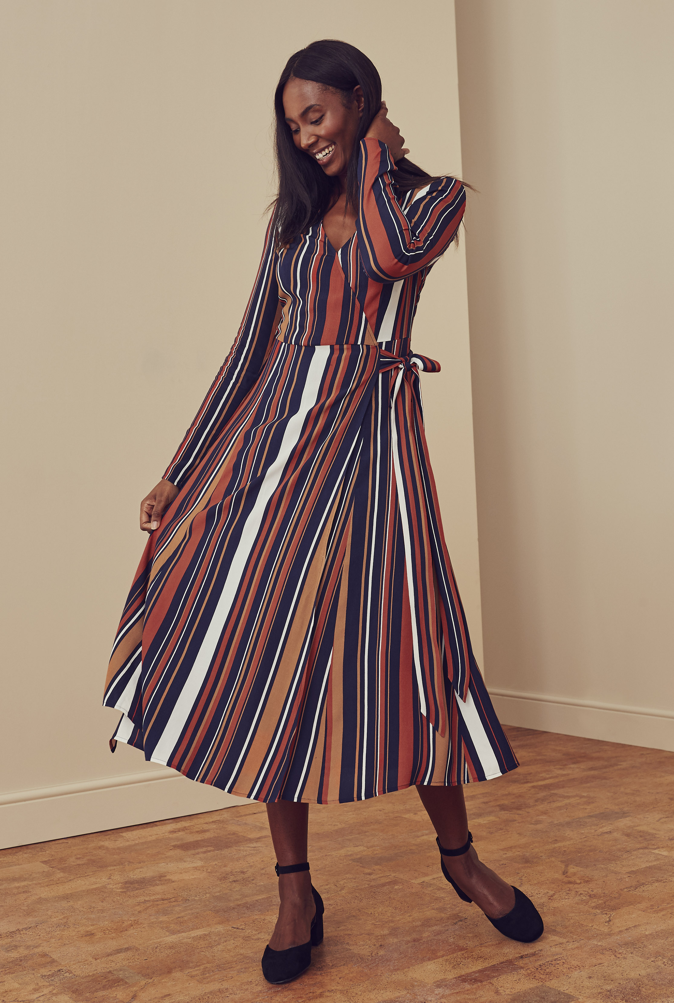 Navy Stripe Print Wrap Midi Dress
