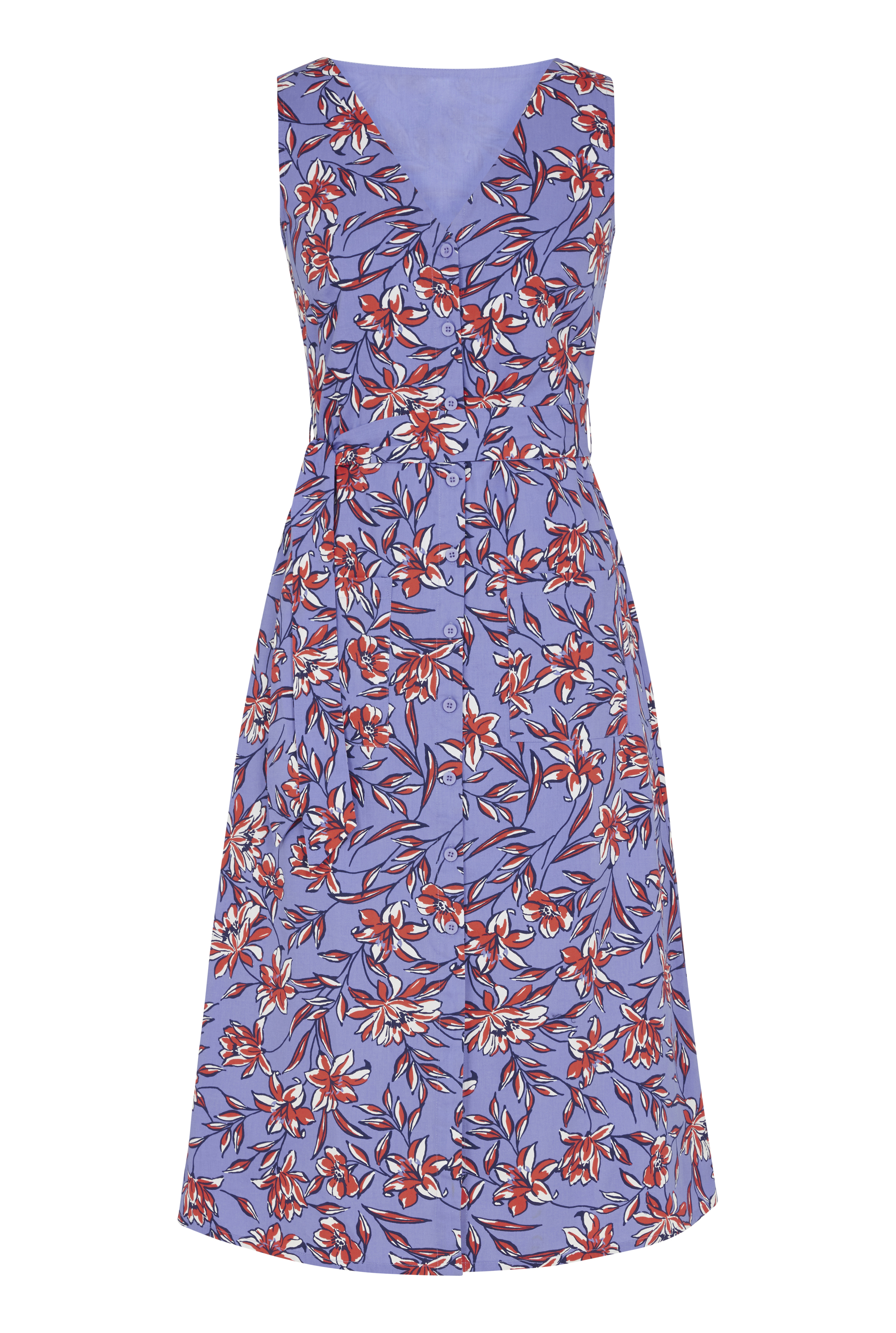 Purple Floral Cotton Fit And Flare Dress