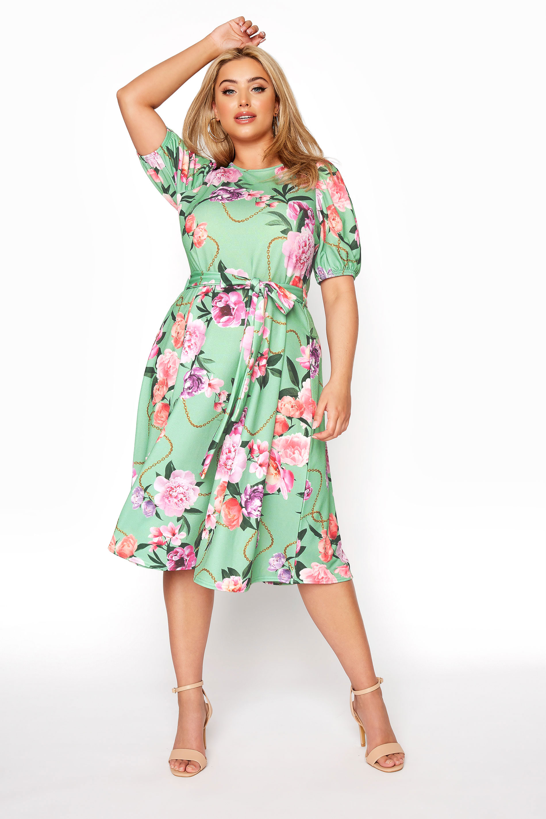 YOURS LONDON Green Floral Chain Print Puff Sleeve Skater Dress_A.jpg