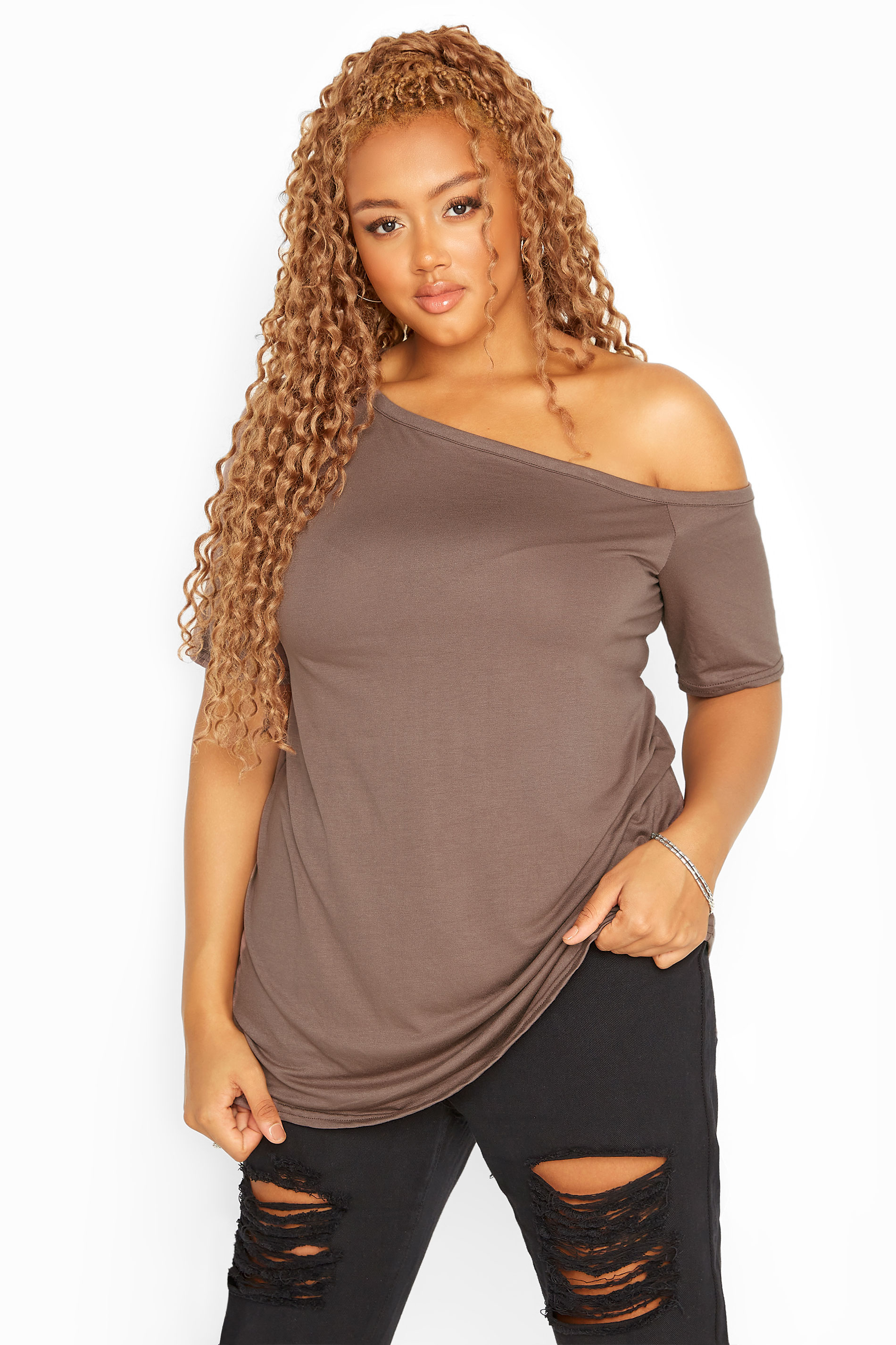 LIMITED COLLECTION Mocha Brown Asymmetric Basic Top