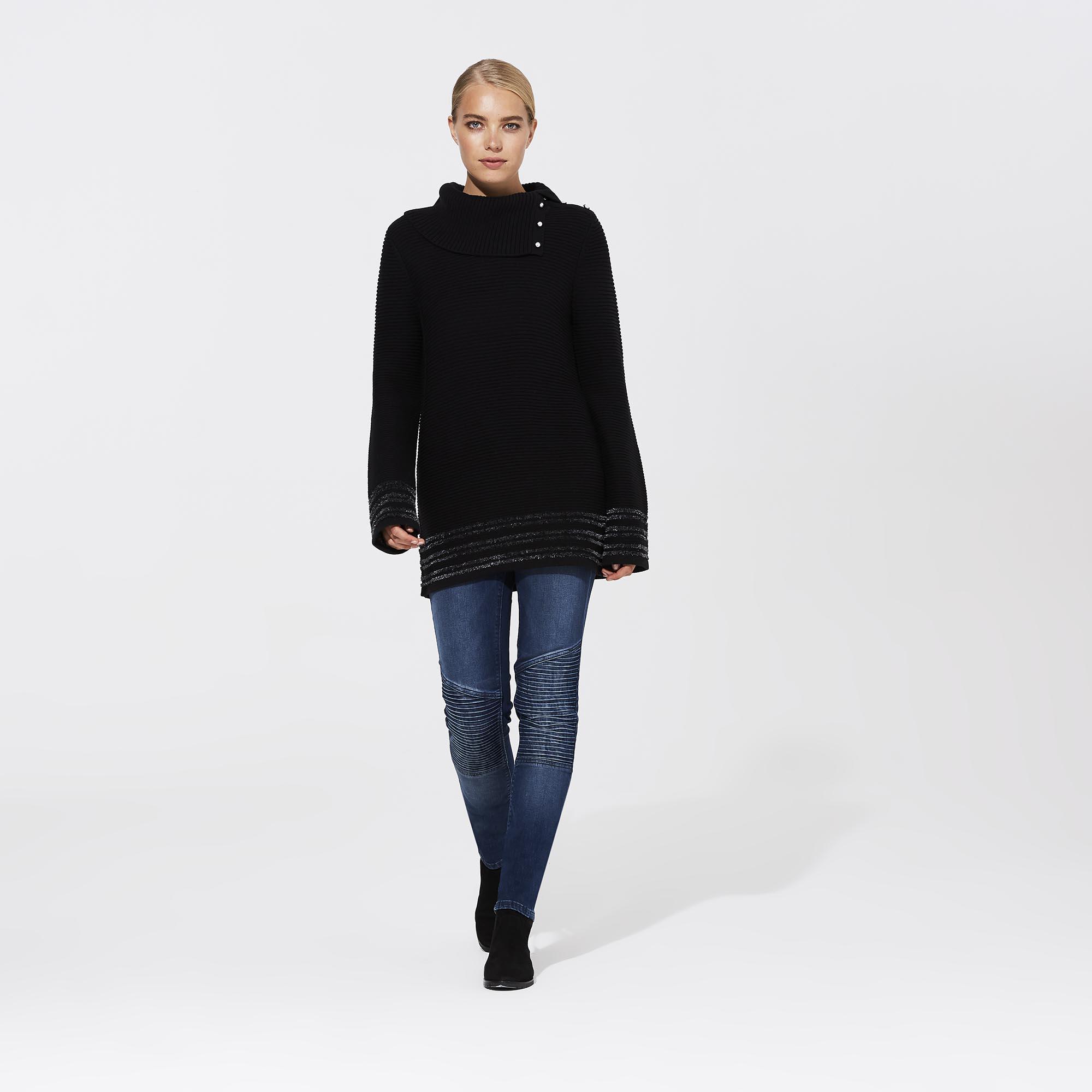 Karl Lagerfeld Paris Button Turtleneck Chenille Sweater