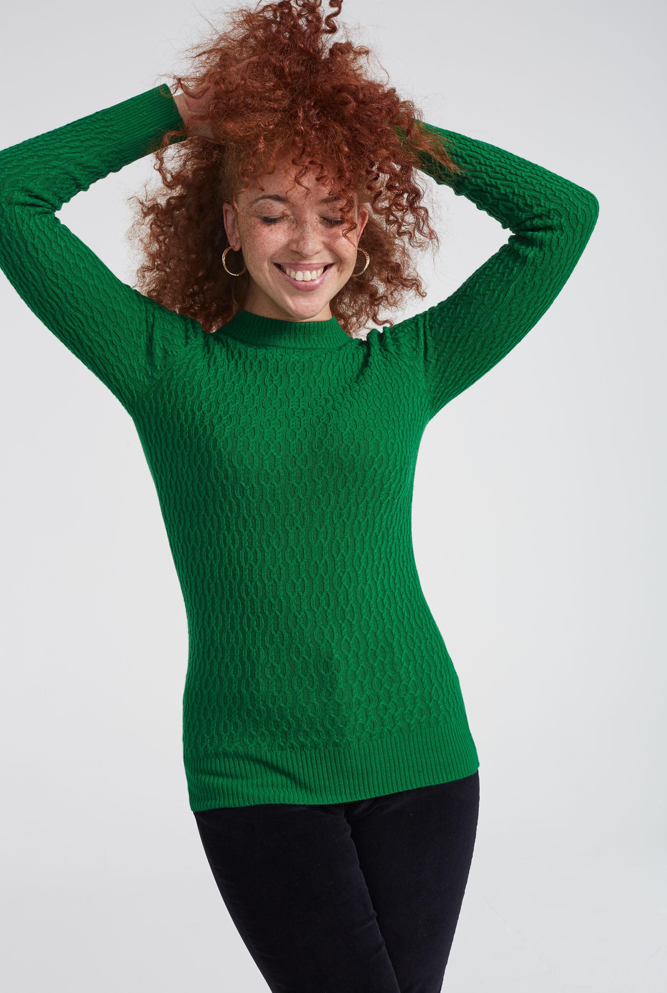 Green Cable Knit Turtleneck Jumper
